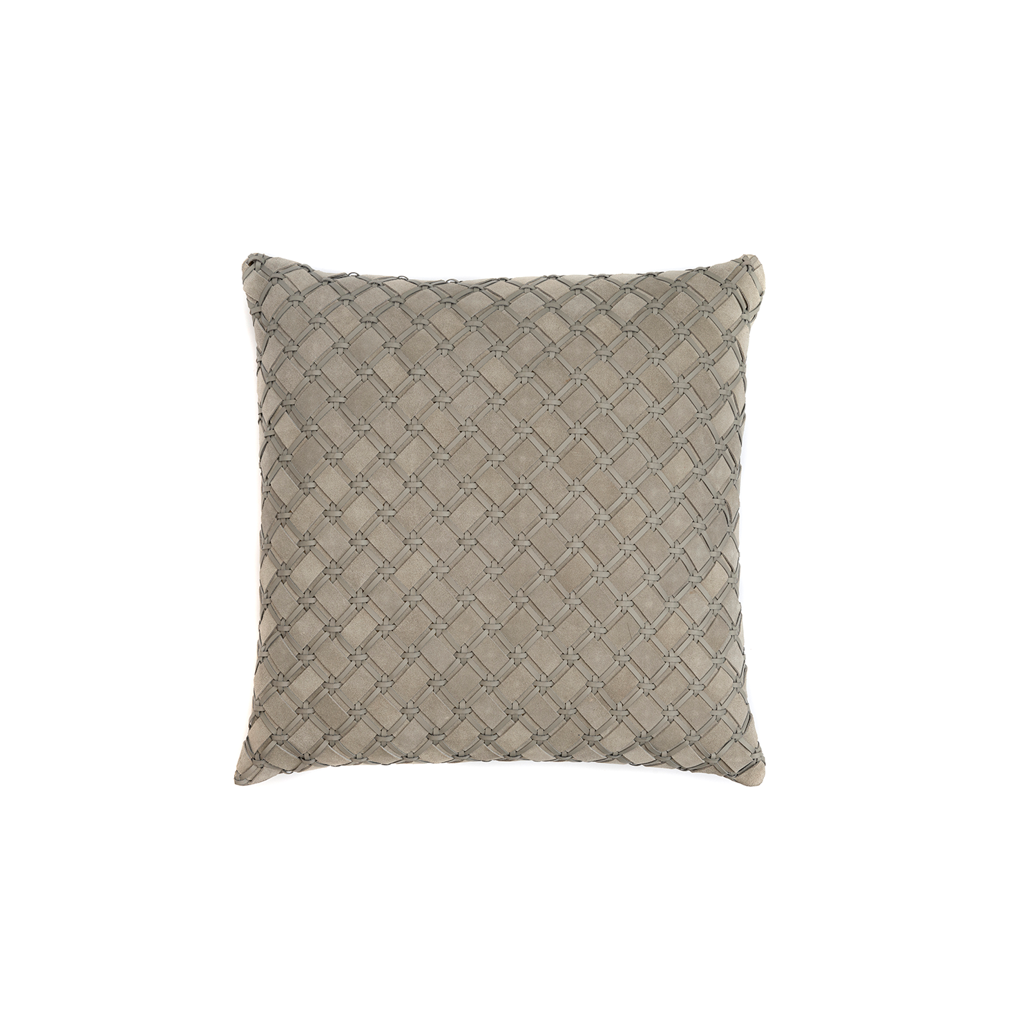 Geometrico Woven Leather Cushion Square - The Geometrico Woven Leather Cushion is designed to complement an ambient with a natural and sophisticated feeling. This cushion style is available in pleated leather or pleated suede leather. Elisa Atheniense woven handmade leather cushions are specially manufactured in Brazil using an exclusive treated leather that brings the soft feel touch to every single piece.   The front panel is handwoven in leather and the back panel is 100% Pes, made in Brazil.  The inner cushion is available in Hollow Fibre and European Duck Feathers, made in the UK.  Please enquire for more information and see colour chart for reference.   | Matter of Stuff