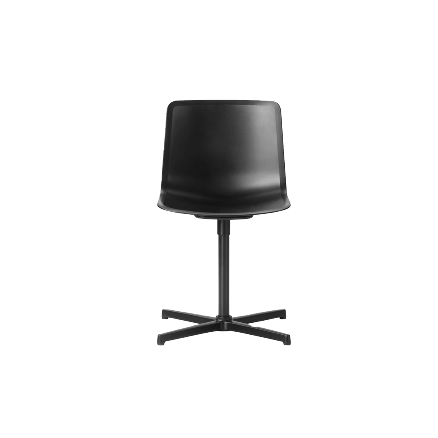 Pato Swivel X Base Chair - Pato Swivel features a 4-point swivel base with optional casters, making it ideal for both task seating and conference rooms. The chair can be tuned from basic to exclusive with optional upholstery.  Pato is a prime example of our focus on sustainability and protecting the environment, reflected in a chair that's 100% renewable and recyclable. All components can be incorporated into future furniture production, thus contributing to a circular economy by minimising the use of materials, resources, waste and pollution.   Merging traditional production methods with cutting-edge technology, Pato is a human-centric, highly versatile series of multi-purpose functional furniture that draws on our in-depth experience with materials, immaculate detailing and heritage of fine craftsmanship. Allowing us to apply our high standards of texture, finish and carpentry techniques to an array of materials in addition to wood for products aimed at a mass market.   With its clean lines and curves, Pato echoes the ethos of Danish-Icelandic design duo Welling/Ludvik. Demonstrating their belief that good design has the ability to be interesting, even when reduced to its most simple form. Where anything extraneous is eliminated and every detail has a purpose.   Together we spent nearly three years developing the shell structure to have a soft surface that's also wear and tear resistant. Enhancing the chair's ability to optimally conform to the user's body is a subtle beveled edge. A technique from classic cabinetmaking, which gives the chair a sense of handcrafted finesse. Each Pato is detailed and finished by hand by our highly skilled crafts people, who refine the beveled edge and the silky, resilient surface. Setting a new standard for the execution and finish of polypropylene.   Since the success of its initial launch, we've expanded Pato into an extensive collection of variants, featuring armchairs, barstools, office swivel chairs and a long list of more, wi