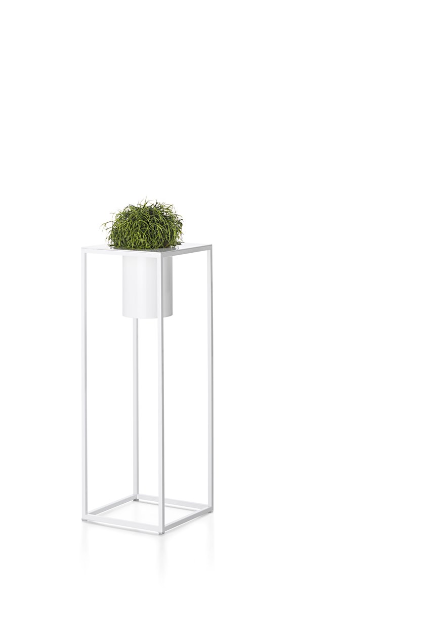 """Riviera Plant Pot - """"I've always been drawn to nature as it manifests its strength in unexpected contexts"""". With this, Aldo Cibic built a miniature natural landscape, poetically made of structures, containers and objects to house small gardens, both indoors and outdoors. With a minimal, simple design and a thin, barely-there frame, the lightness of the lines converges to exalt the ezxpressiveness of the metals and the sensory nature of their surfaces.  Minimalist metal cachepot. Closedbase for indoors or perforated basefor outdoors. Provided with an innerplastic pot to hold plants.   Matter of Stuff"""
