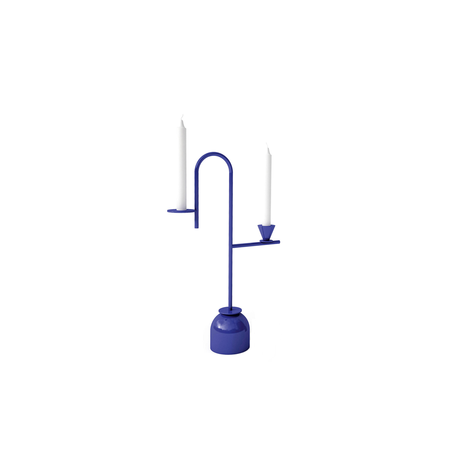 Blue No.2 Candleholder - Graceful geometry characterizes this pair of Blue Candleholders by designer Thomas Dariel. For this project, he defined space with slender curved stems, illuminated with indigo blue.
