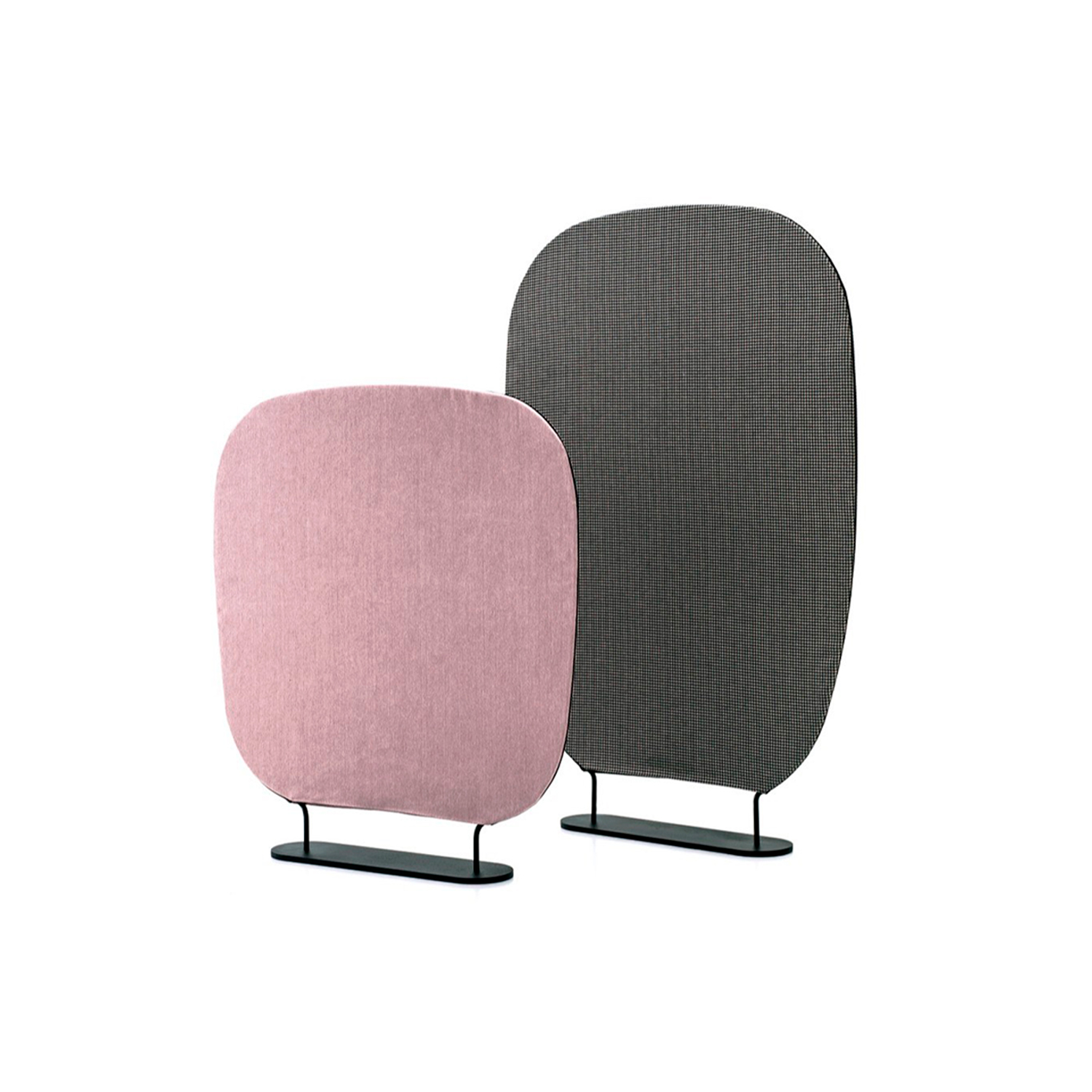 """Shade Room Divider - Shade, as in the Japanese meaning of """"divider"""", has been restyled in a contemporary way and found a place in the living area. Shade is a filter, a divider, a compact system created for constructing spaces: decorating, separating, reserving private and intimate corners. The two sizes and the different textiles for upholstery allow for a high degree of customization in terms of space and product. The lyrical design trait of Marco Zito is evident in the lack of corners, an organic and soft shape. Also available with soundproof insert.  Materials: Structure in coated wire drawn with diameter 18 mm with fabric upholstery. Base in coated steel h. 15 mm.  Structure:  Black RAL 9005 Matt 