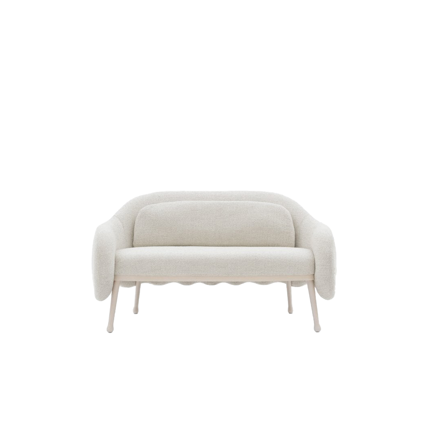 Corolla Sofa - This sofa, designed by Cristina Celestino, is a simple but elegant addition to your home. The wavy back adds personality and the shape is designed with comfort in mind. This is the perfect thing for small spaces or entrance ways and hall ways. The legs are slightly slanted and come in either Ash, Beech or Lacquered Beech. The upholstery can be fabric, leather or your chosen material.  This can come with cushions. Please enquire for more information.   | Matter of Stuff