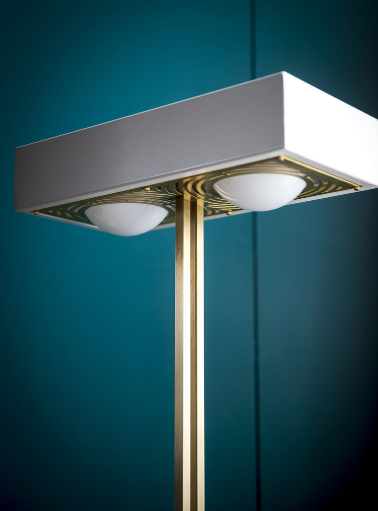Kernel Floor Lamp - <p>With a weighty solid brass base, the Kernel Floor Lamp boasts sharp angular lines offset by opal glass globes which cast a soft, warm light both above and below the box shade.</p>  | Matter of Stuff