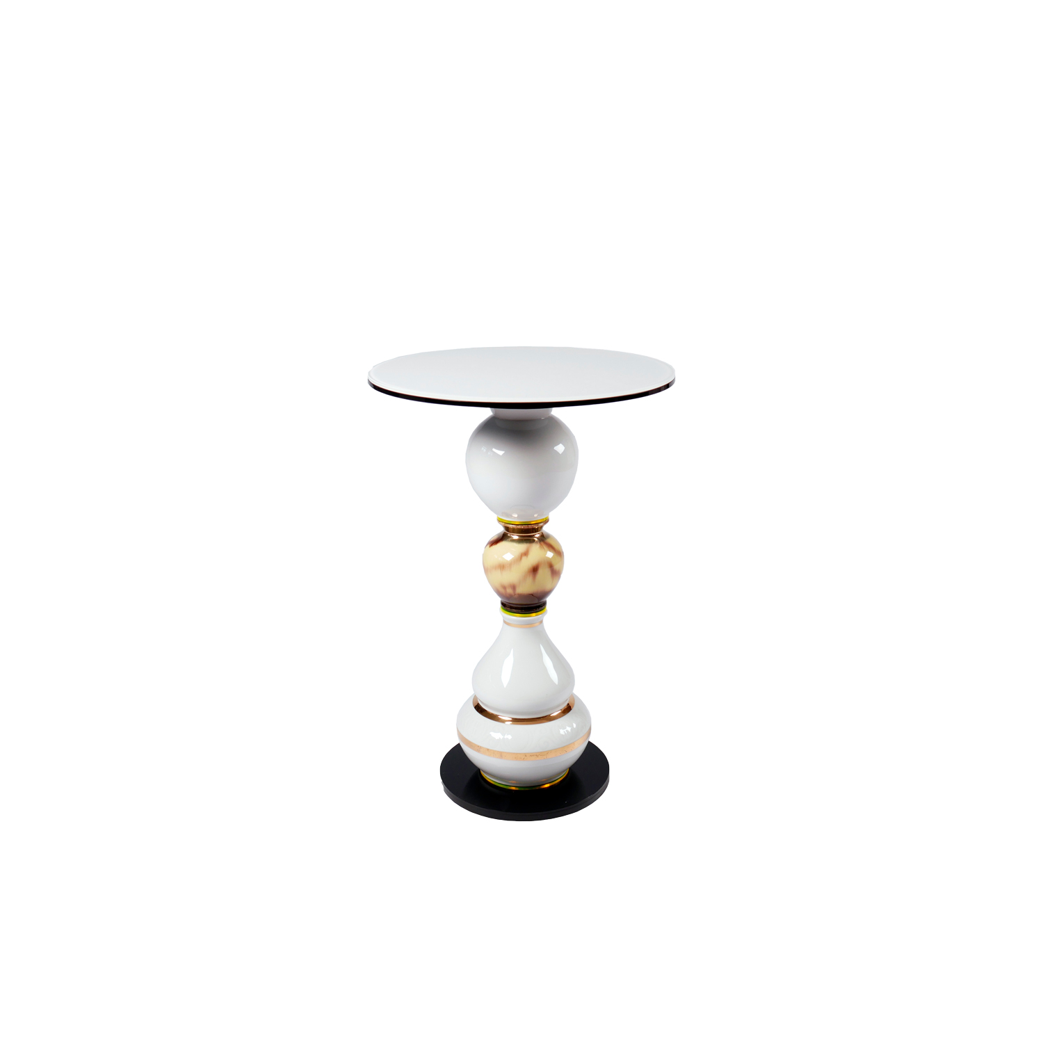 """Sommers Song Side Table - Timeless """"one of a kind"""" side table made of vintage vases and new plexiglass and glass components. Stable construction made of metal and flexible components inside. Additional wight in the base.  
