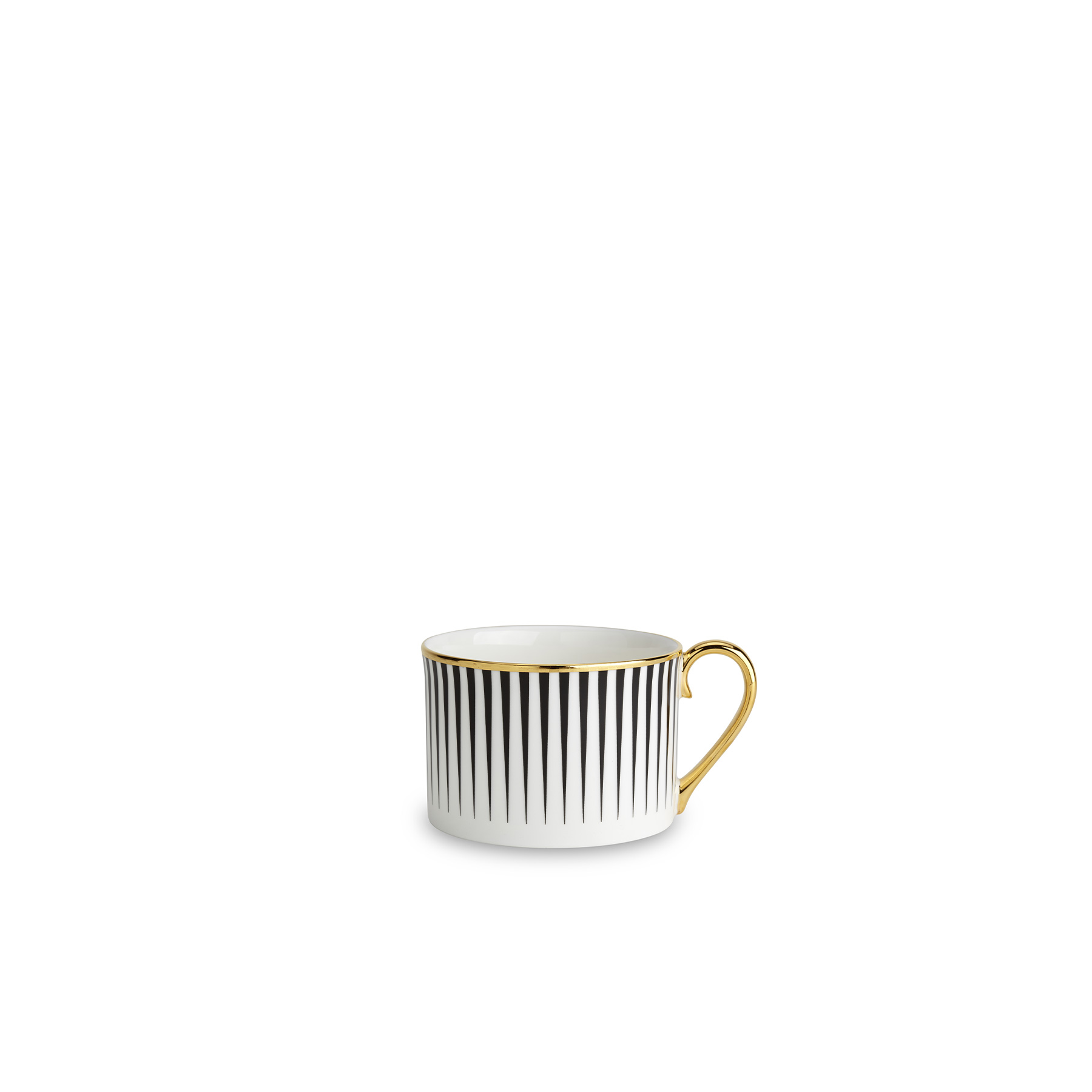 Lustre Coffee Cup Black - Lustre, conceived by award-winning designer Bethan Gray uses a fine bone china body paired with 22-carat gold and black decals, and finished with hand gilded details. The collection features a reinterpretation of Bethan's hand-drawn Dhow pattern originally inspired by the billowing sails of Oman's distinctive sailing boats. Possible only by hand, the pattern is meticulously applied in three separate pieces in a pattern that is complex with its curvatures. The decals of 22-carat gold and black are fired, hand finished with 22-carat gold and finally fired for a second time. Hand wash only.  | Matter of Stuff
