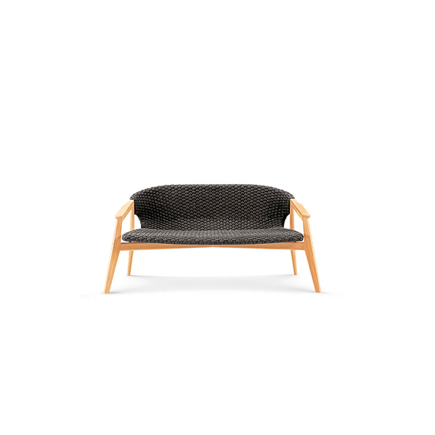 Knit 2 Seater Sofa - Knit is a complete line of tables, chairs and lounge chairs in teak and woven rope that expresses with refinement a perfect synthesis of aesthetics, functionality and ergonomics. The iconic collection is enriched by the new version in pickled teak and light gray rope and the rocking version of the lounge chair with high back, thus offering a new and special interpretation of the classic bergère.  Seat and back cushions available at extra cost. Please enquire for more information. | Matter of Stuff