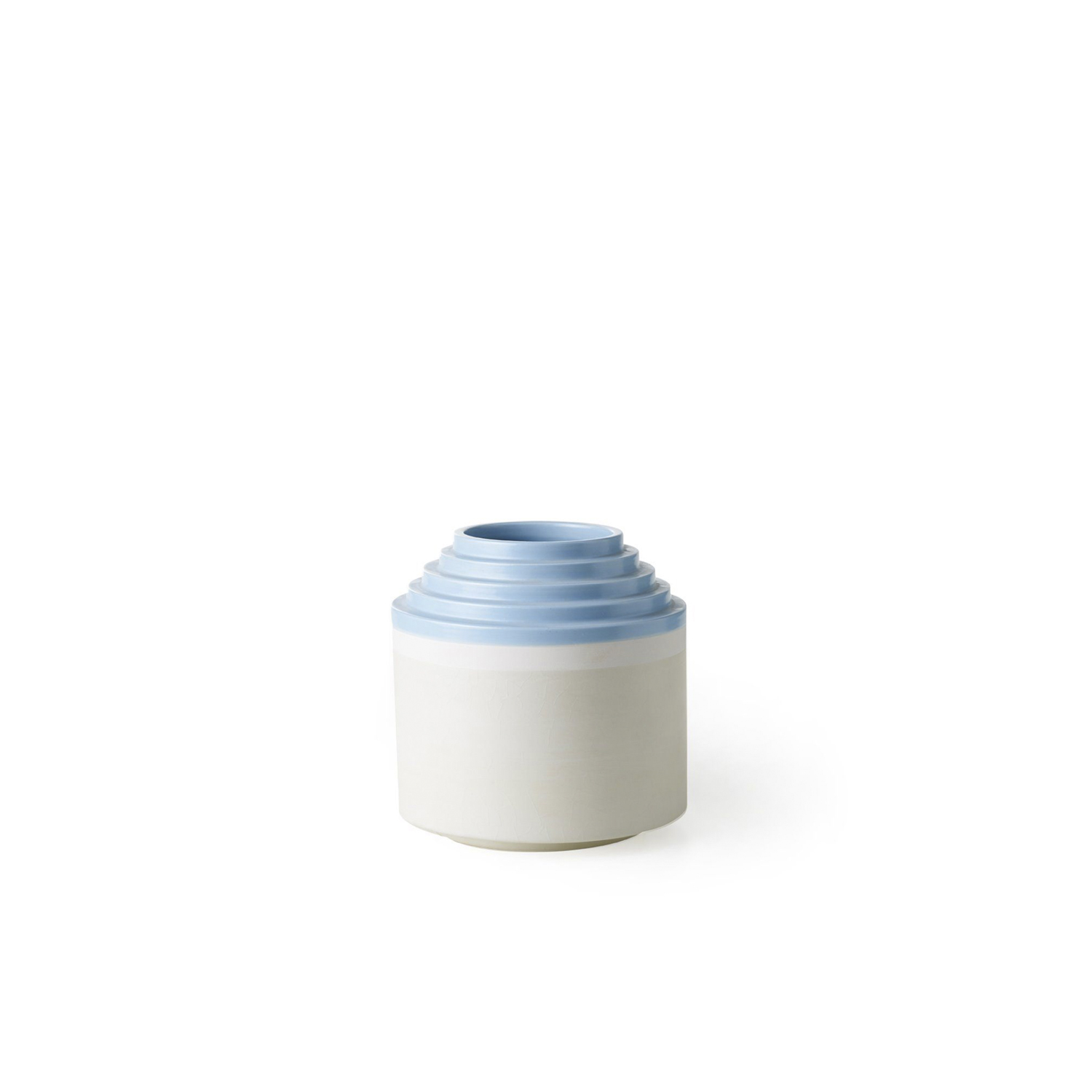 Blue Stripped Rim Vase - Vase with stepped rim. Hand-turned in white clay. Two-tone matt white and light blue glaze.