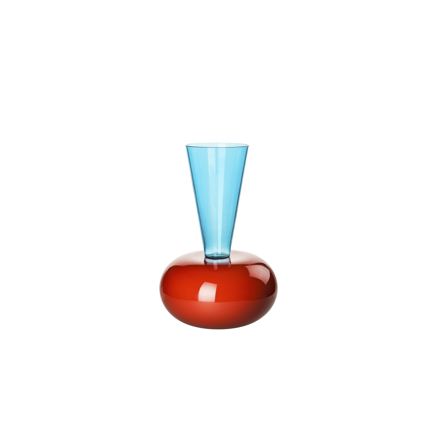 Puzzle Vase - Architecture turns into design. Magnificence turns into elegance. Coral meets Aquamarine, then it blends into Grey. This glass creation by Ettore Sottsass has a soul and a strong character   Matter of Stuff