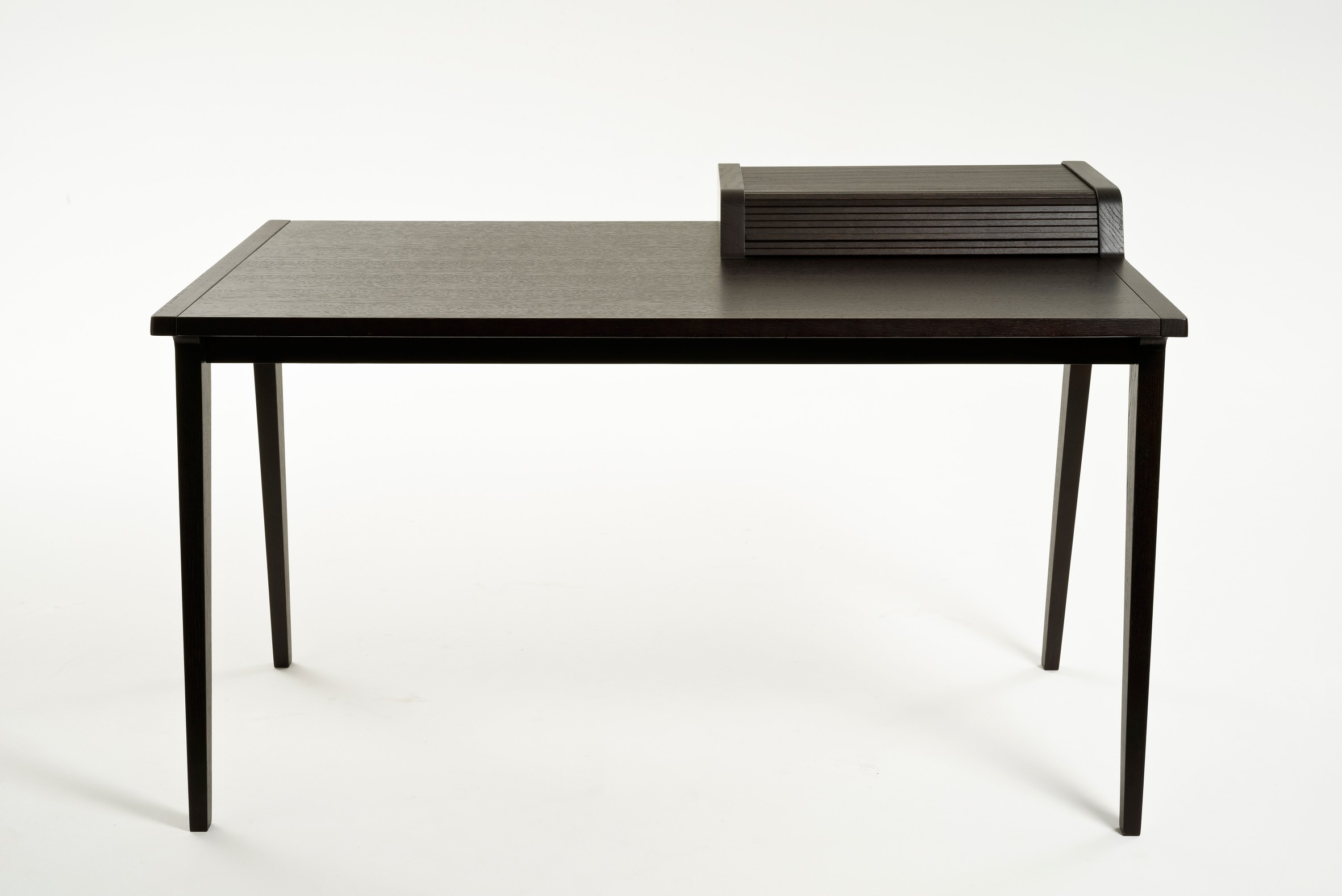 Tapparelle Desk - Belongs to a timeless collection in wood and draw inspiration from famous writers houses. The desk contrasts the rolling shutter once containing feather and ink to the present day use to hide phone, laptop and tablet.  | Matter of Stuff