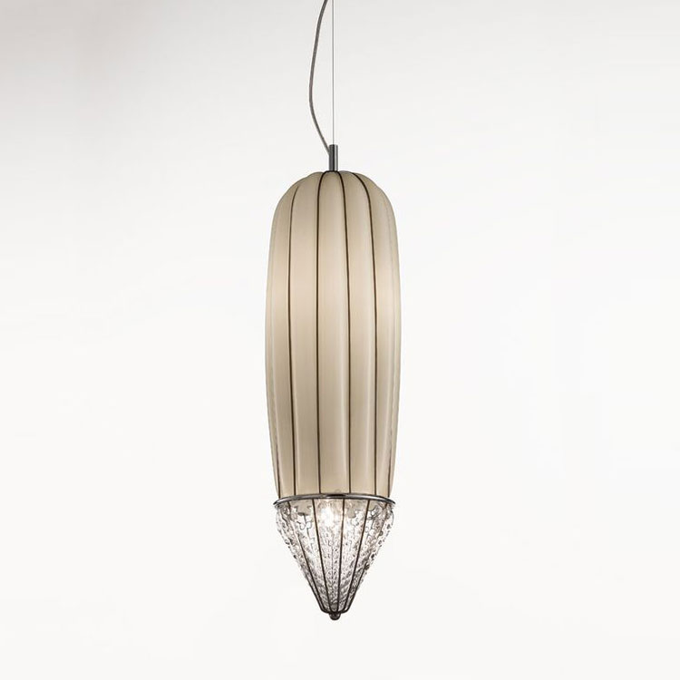 Pencil Pendant Light - The Pencil Pendant Light is, as the name suggests, pencil shaped with a smooth cylinder going towards a point at the end. This pendant light would look elegant in most open spaces and would look perfect hanging in the middle of a spiral staircase. This piece is hand made blown glass with suspension techniques of the old Murano glass masters.</p> This light comes in three finishes: Smooth Milk White, Amber Stacked and Smoke Strike <p>250V Input. 4X E14 max 40W ~ IP20 Bulbs</p>  | Matter of Stuff