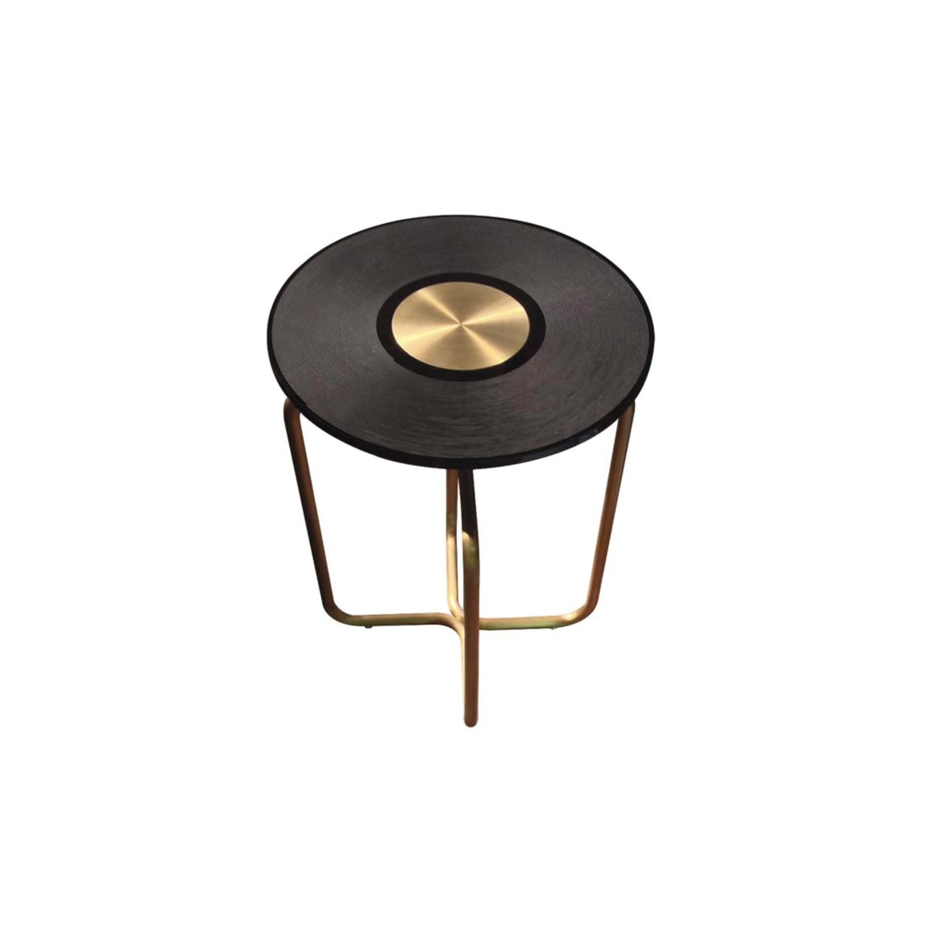 """LP Side Table - Side table with structure in tubular brass, treated with special patinas. Methacrylate top laser engraved to remember an old disk. LP side table is part of Ozzy Family, Memorabilia and Collectibles. """"Icons in the collective imagination that acquired time after time an archetypal dimension, are reinterpreted and enriched by a new narrative dimension. They reborn with a new attribution of meaning through an original plot. Fragments reassembled, forms reconstructed, new functions assigned, objects suspended between two worlds, or rather between two times, the past and the future: a synthesis between tradition and innovation, time frames between memories and purposes.""""    Matter of Stuff"""