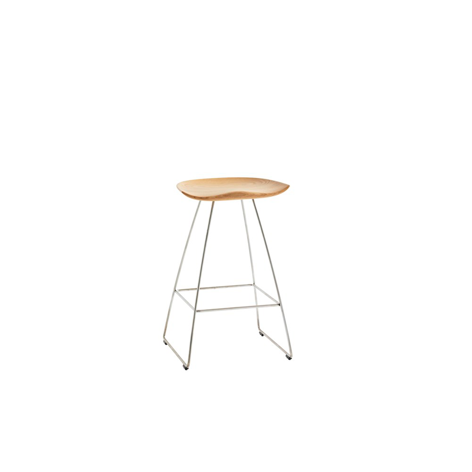 Kaz Low Barstool - The inspiration for Kaz came from a tractor seat, here refined in the form of a stool that combines a contemporary look with timeless functionality. A wooden seat on an underframe of sturdy steel rod gives the stool a minimalistic expression that draws further attention to the wooden seat.  Kaz is manufactured from a single piece of solid wood – oak, ash or finished in standard stains on ash or white-glazed oak or ash. The metal frame has a matt chrome finish, and the runners are fitted with floor protectors. The stool comes in a choice of three heights.  Please enquire for more information. | Matter of Stuff