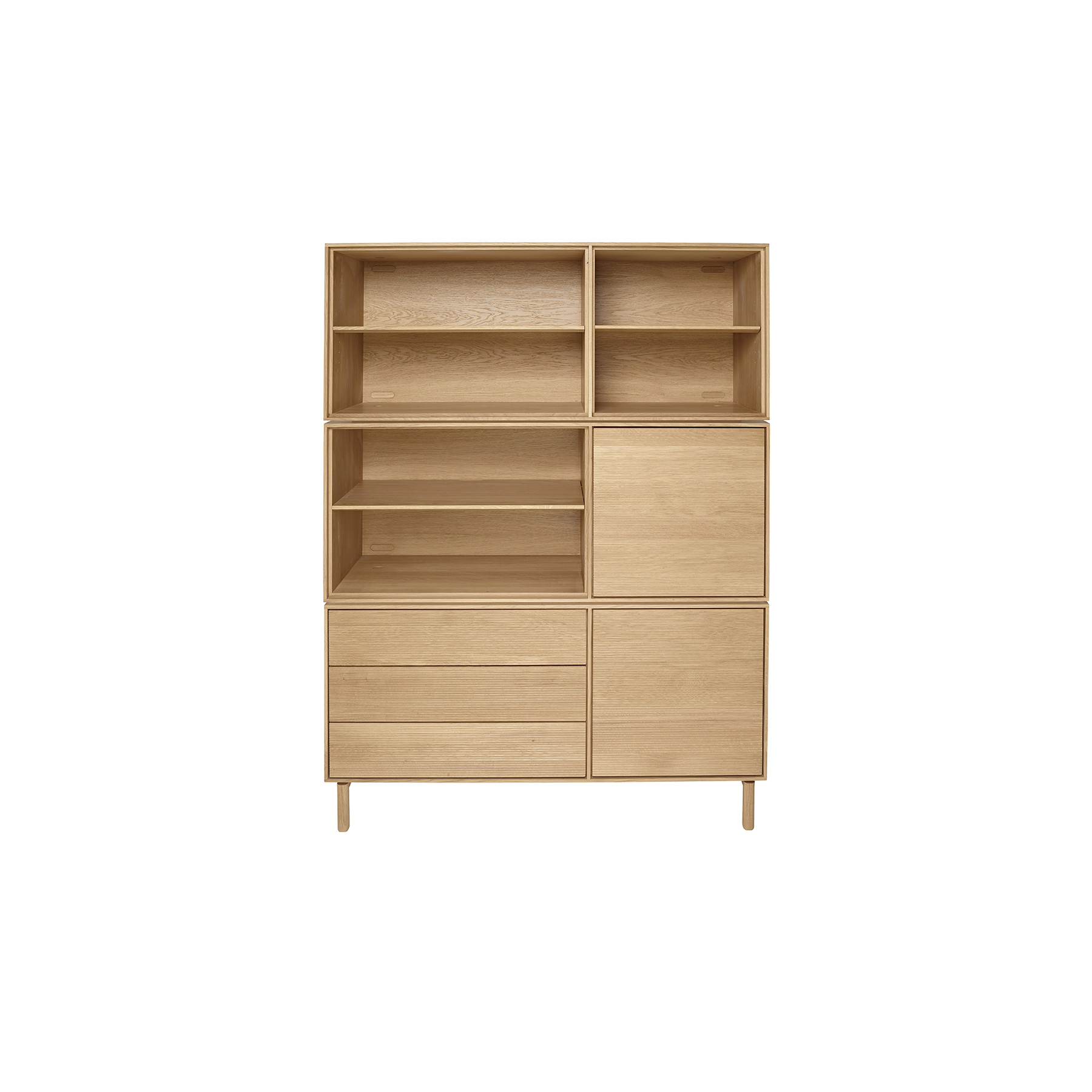 Modulo Open Cabinet - <p>The brief for Modulo was to create a simple, flexible storage system. Modulo is built around a single basic solid oak cabinet carcass which can be specified with either doors and drawers, doors and shelves, drawers and shelves or just shelves. Modulo combines traditional cabinet construction with the modern desire for choice and personalisation.  Each option is available oriented left-handed or right-handed and can be used individually or stacked and combined to offer numerous storage solutions. Wood finishes and colour samples are shown for guidance only as screen colours may vary. We would recommend ordering a sample in your chosen finish. However, wood is a natural material and varies in colour, grain and structure.<br /> Doors and Drawers available in Natural (DM) finish only. Cabinets are available in Natural (DM), Darkened (DA) or Black (BK) finish.</p>  | Matter of Stuff