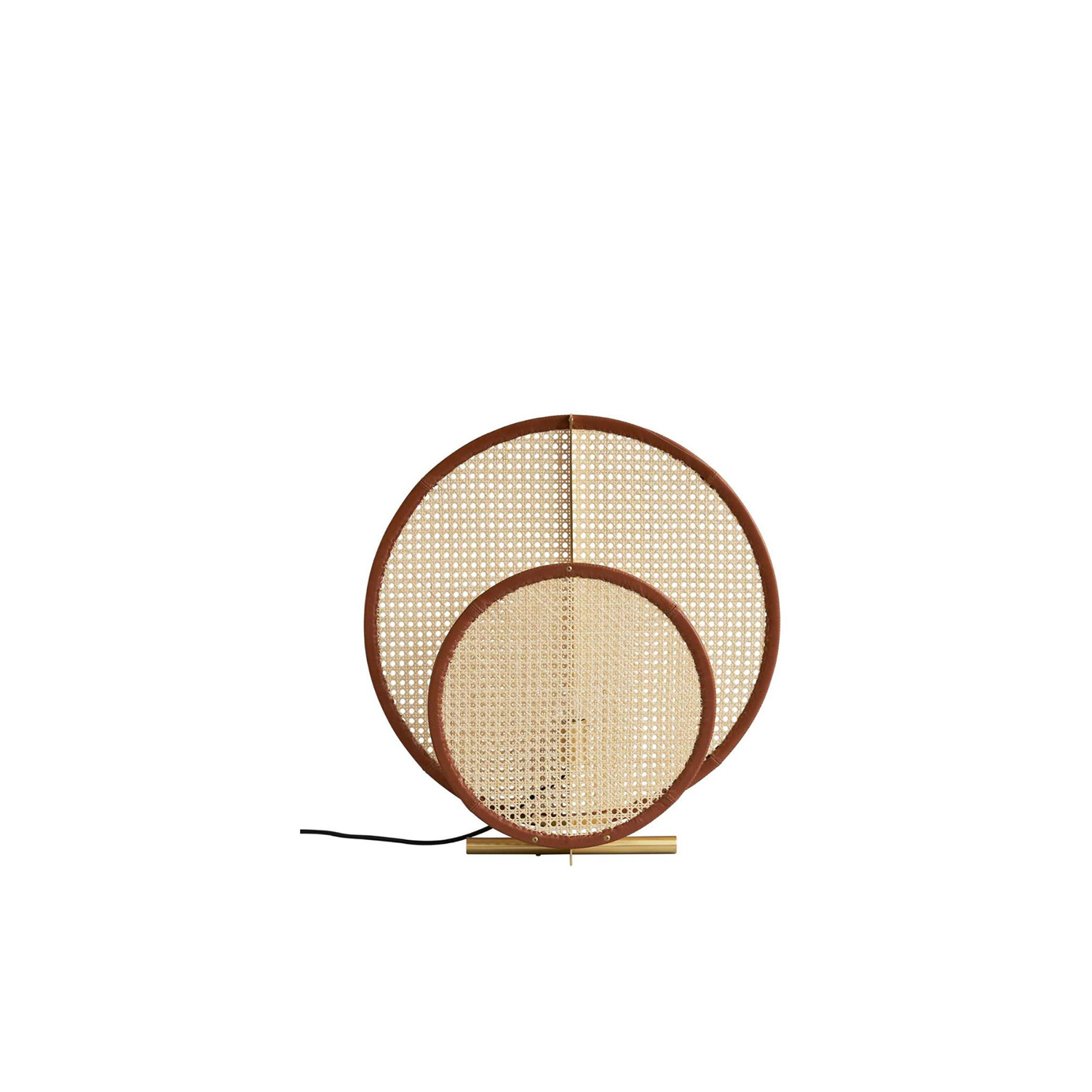 AD Colonial Floor Lamp - AD Floor Lamp is inspired by the iconic Art Deco patterns, where trapezoidal shapes expand into symmetric patterns.‎ AD Colonial is the newest addition to the AD Collection and features two semi-transparent lampshades of French rattan mesh.‎ Each lampshade is characterized by a refined cognac leather detail, stitched to the edge of circular lampshades.‎ The natural materials create a warm and inviting atmosphere, while the French mesh adds a significant play of shadows.‎ | Matter of Stuff