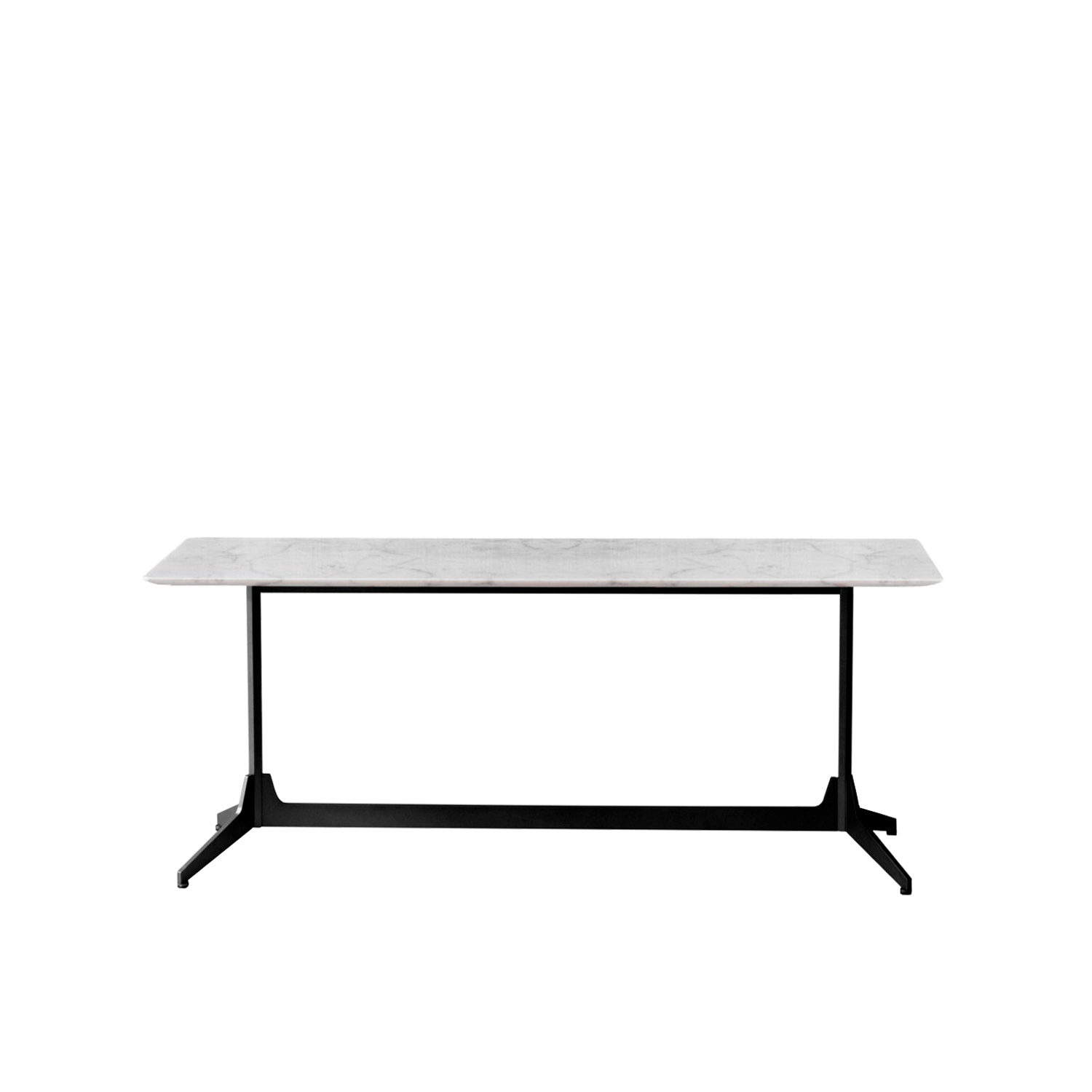 Hexa Console Table  - Hexa is a rectangular console with a marble top.  The project takes its inspiration from the concept of our memory, reimagining simple and iconic forms with echoes from the past. Central to the design is the upright hexagonal structure typically used in building construction that, in this particular context, is interpreted as a joint onto which the feet are attached perpendicularly. This style detail is reminiscent of 1950's furniture design. The base of the table is painted finished metallic wire drawn and the top in marble.  Materials Structure in painted wire drawn with hexagonal section and feet in steel blade. Thickness top in 10 mm and with tapered edge. | Matter of Stuff