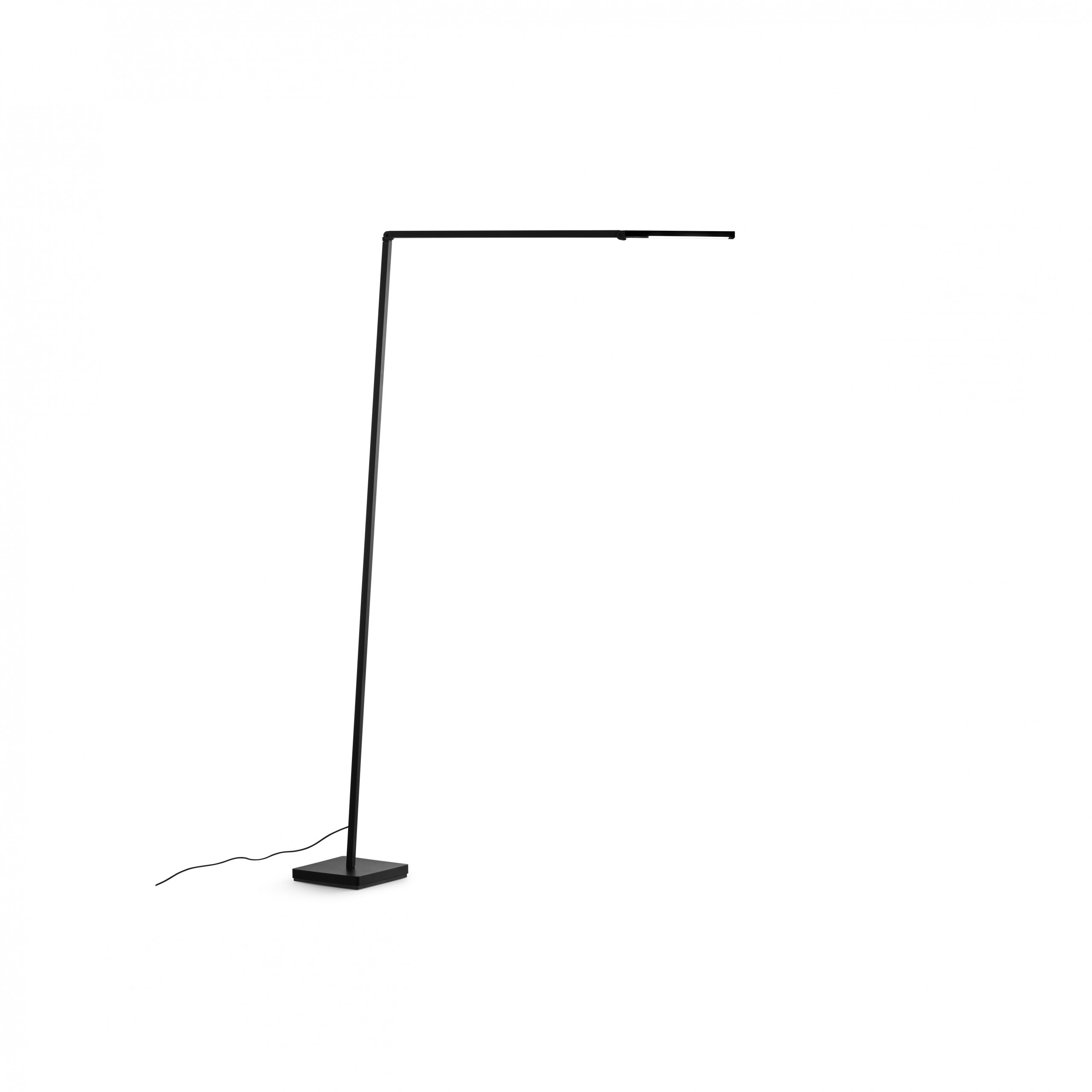 Untitled Reading Linear Floor Lamp - Family of table, floor and wall LED lamps in extruded matt black painted aluminium with joints for flexible and dynamic positioning of the light. Available in the version with the linear lighting unit in polymer filled with glass fibres that rotate on itself and in the version with a cylindrical spotlight in aluminium. Dimmer on board located on the lamp stem.  | Matter of Stuff