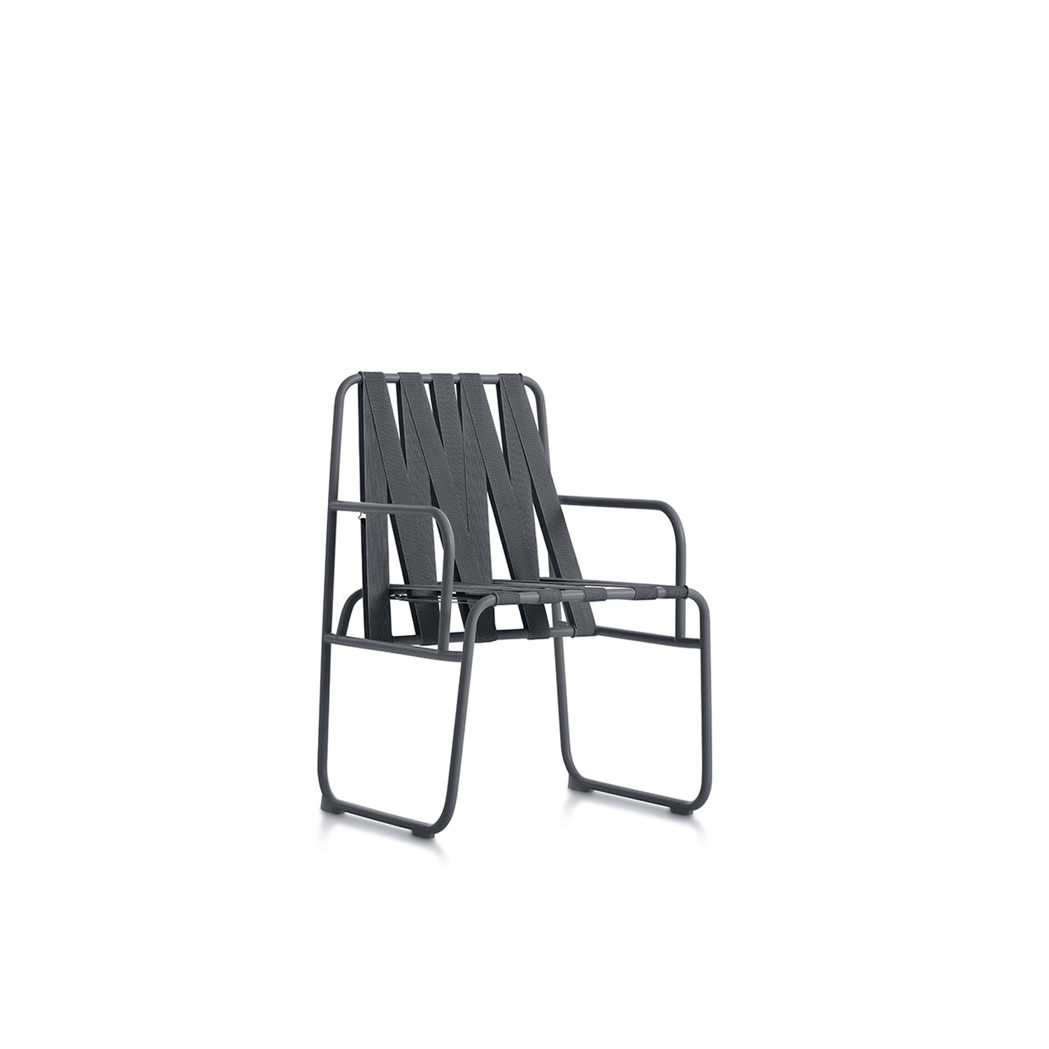 Dozequinze Chair - <p>The Dozequinze collection is one of those designs where the maximum has been achieved with the minimum. Based on simple steel tube structures and rubber lattice work, this is your outdoor seat. Possibly the minimum expression of a chair, a design inspired by observing the dense networks of cables criss-crossing the sky over the city of São Paulo. A chair with a casual look that's perfect for an informal outdoor area.</p> <p>The Dozequinze outdoor chair is particularly comfortable because of the elasticity of the rubber webbing on both the seat and the back, very similar to hand crafted lattice work. The webbing is made from a material that's a mix of polypropylene and synthetic rubber, which is not only ergonomically comfortable but also extremely resistant to being outside in all kinds of weather conditions.</p>  | Matter of Stuff