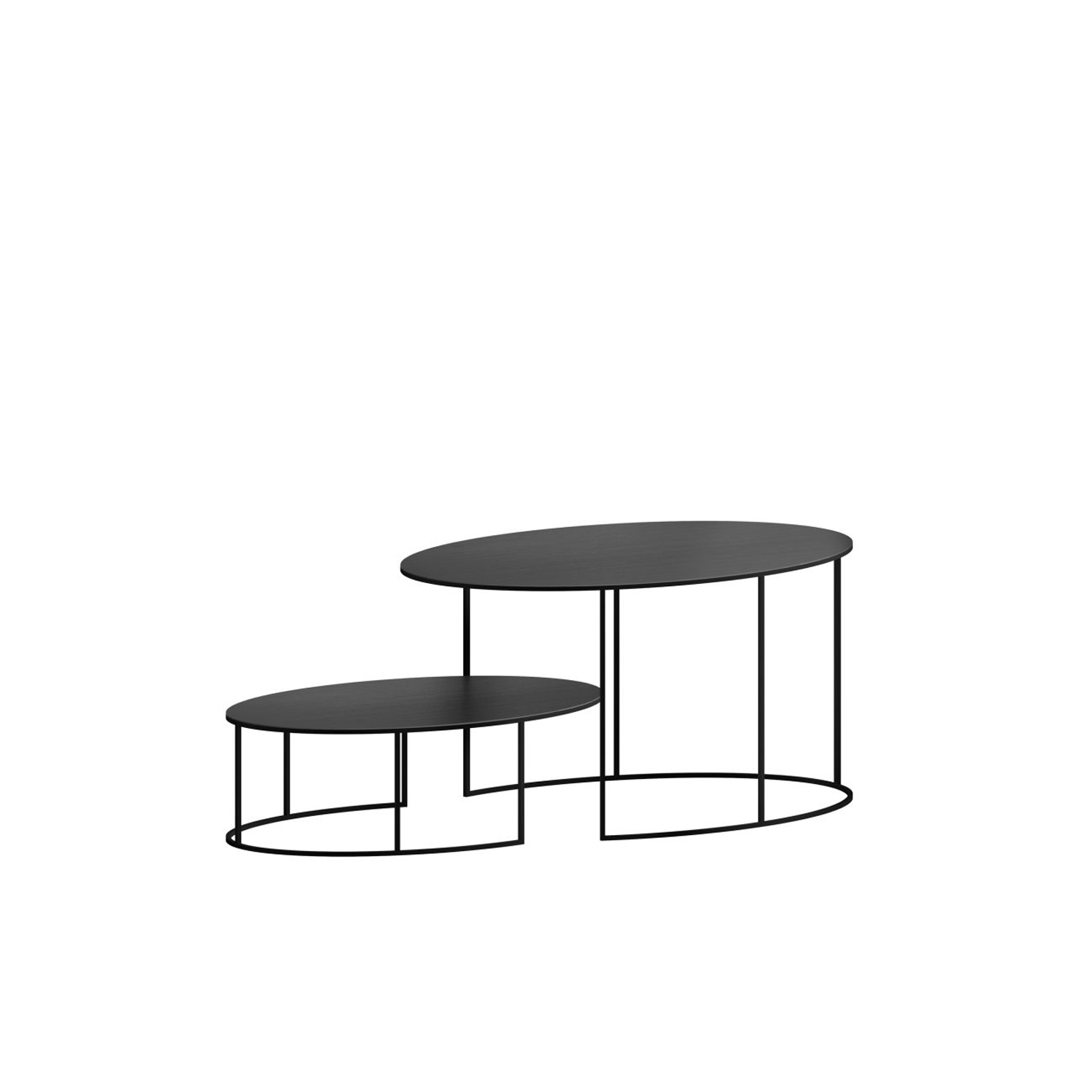 Slim Irony Oval Side Tables - These tables are available in two different sizes and look perfect either separately or together.  Designed by Maurizio Peregalli they have an indusial yet sophisticated look. The frame is in solid drawn tube 8x8 mm and they have a 2mm sheet steel top which can be painted in either Copper Black Sand-Touch Epoxy Painted or Semi Opaque White.   | Matter of Stuff