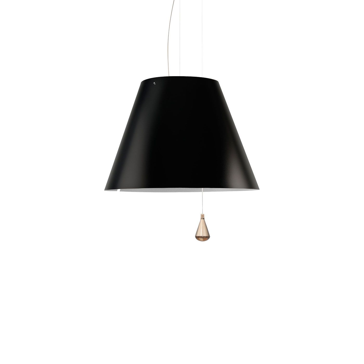 Lady Costanza Suspension Lamp -  Lady Costanza reinterprets all the characteristics of the original Costanza model in a larger format, conserving the aplomb of the design, its formal harmony and functional precision. The shade comes in white, red and black (the latter for a more directional, concentrated lighting effect).    Matter of Stuff