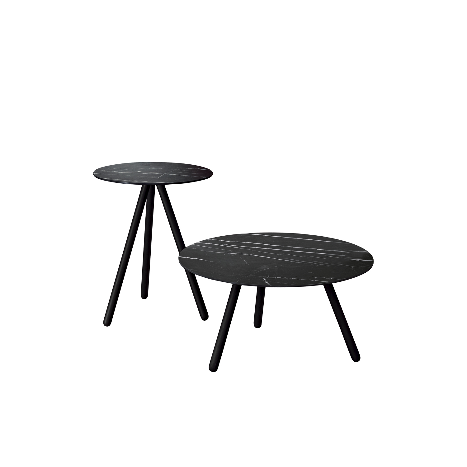 Pinocchio Coffee Table - Supported by three turned wood legs, Pinocchio with a coloured top sports an eccentric air while it takes on a more discreet tone with the stoneware top.  | Matter of Stuff
