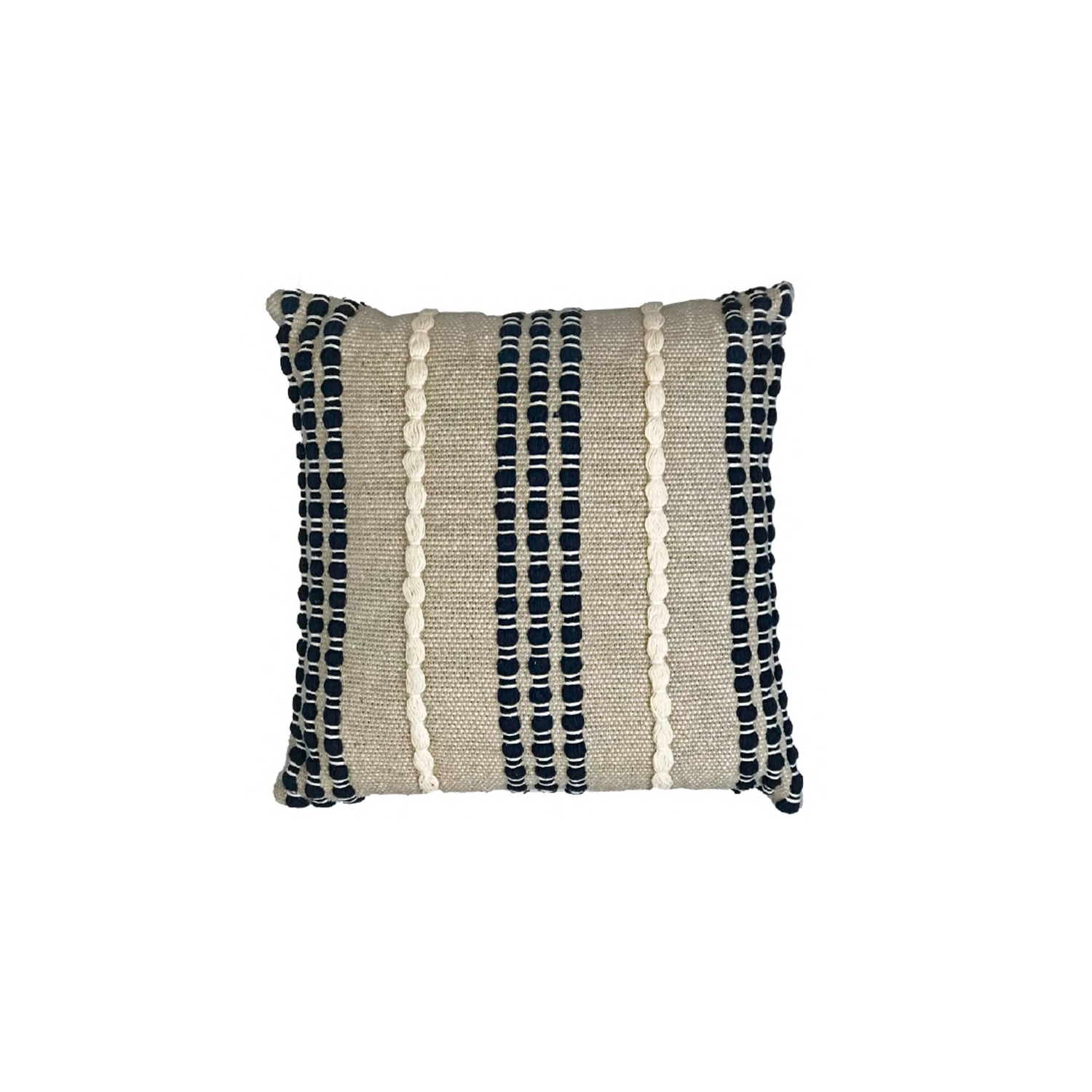 Lua Noite Cotton Cushion Square - The Flame Sustainable Collection is made from a selection of organic cotton fibres, eco-friendly, hand-woven or elaborated using traditional hand-loom techniques. Carefully knitted within a trained community of women that found in their craft a way to provide their families.  This collection combines Elisa Atheniense mission for responsible sourcing and manufacturing. Each piece is meticulously hand-loom by artisans who practised methods with age-old techniques. With a minimal electricity impact, each item crafted is therefore unique and exclusive. Weavers and artisans are the ultimate lifelines of Elisa Atheniense Home Products.  The hand woven cotton, washable cushion cover is made in Brazil and the inner cushion is made in the UK.   | Matter of Stuff