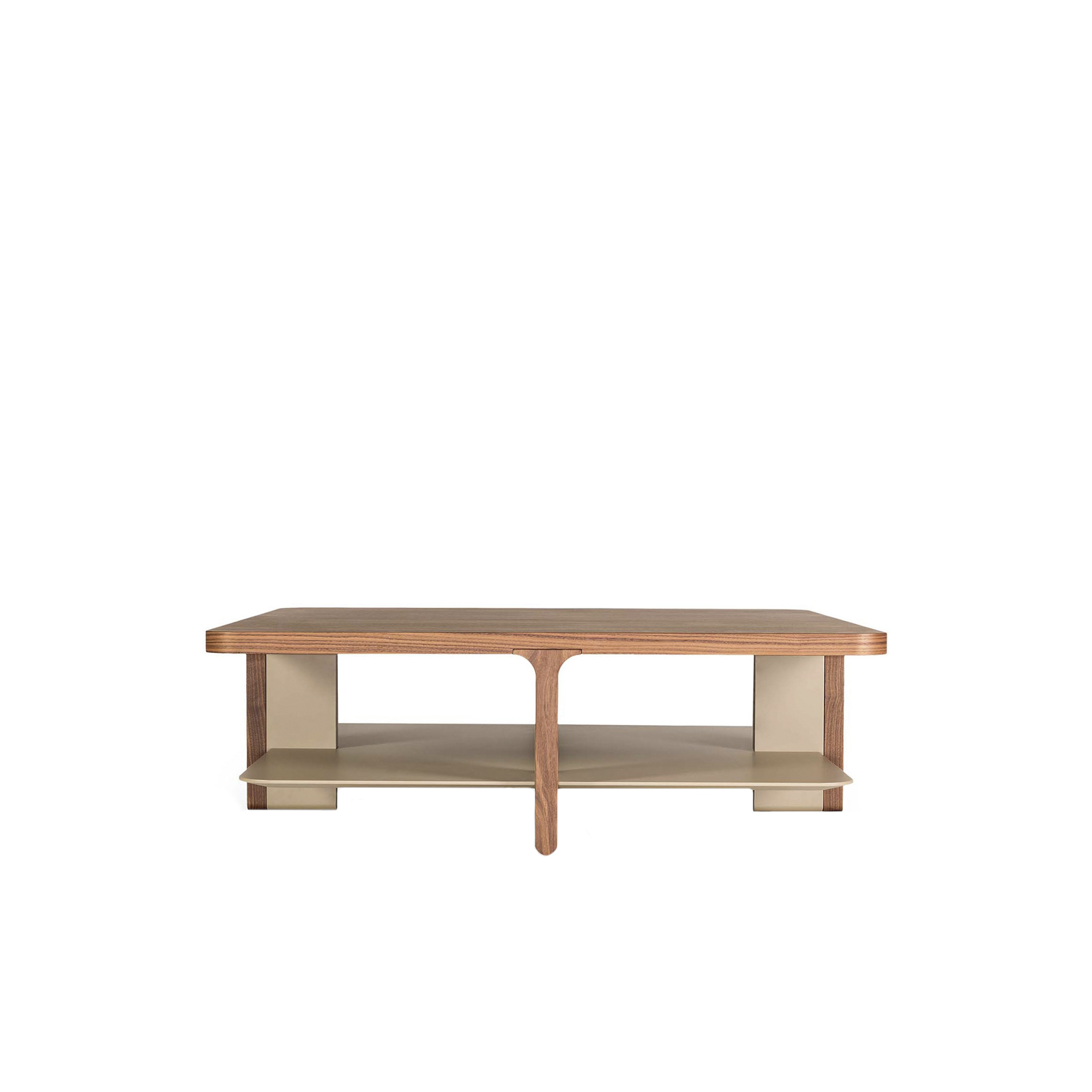 Acro-bat 006 Low Table - Low table in various sizes with round corners. Top in wood, base in two sections in wood and lacquer or total lacquered. Shaped magazine shelf always lacquered as a base.  | Matter of Stuff