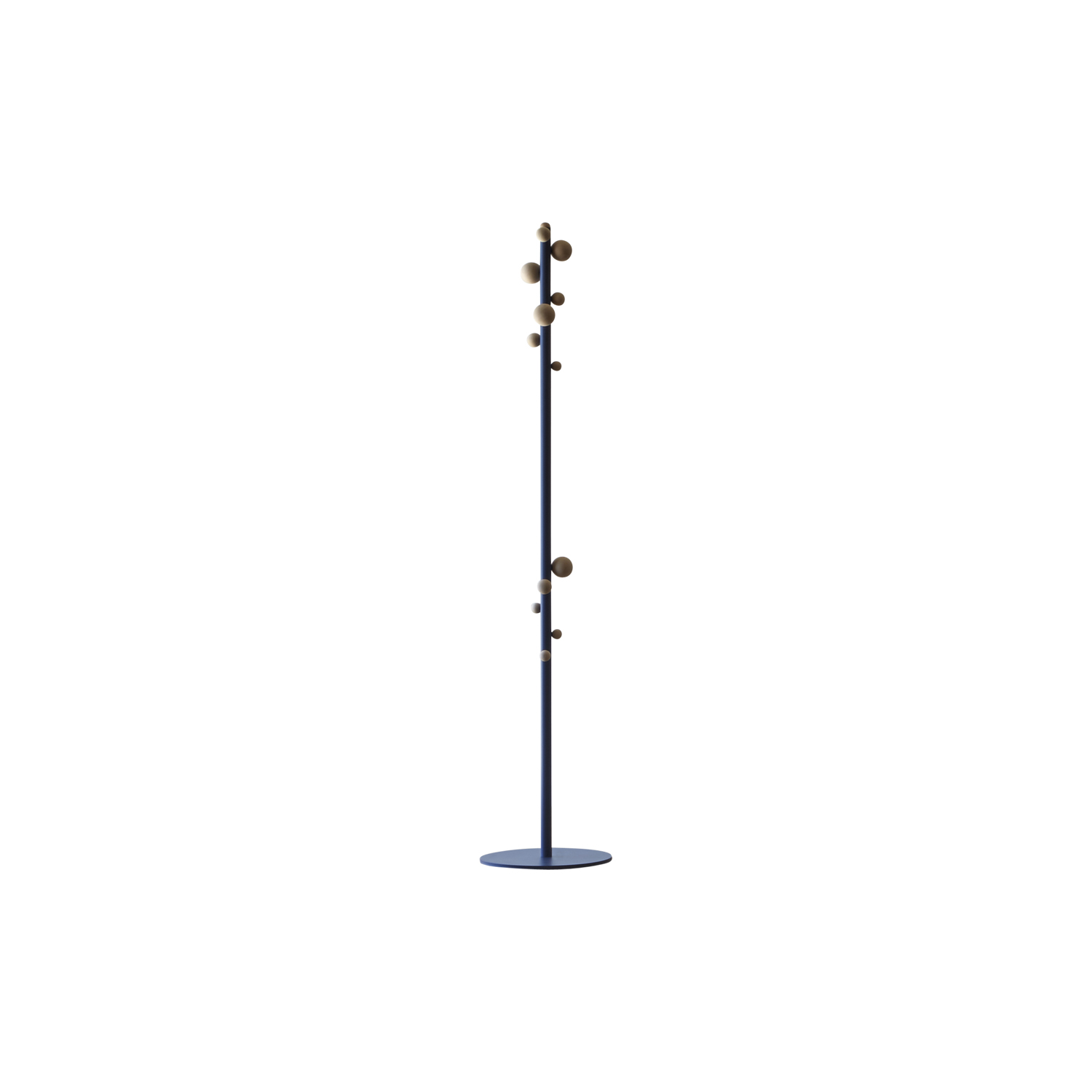 Bubble Coat Stand - Small beech wood balls seem to appear from nowhere along a coloured stem, lending the traditional coat stand a vibrant personality. A complementary furnishing item that lives up to your challenges.