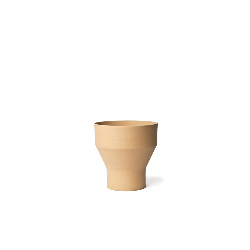 Erba Garden Pot - Erba, Mira and Pila are based on archetypal forms of traditional garden pots that are part of our collective memory. Their clean lines and geometric play of intersecting conical and cylindrical volumes reinvent the typology itself. Designed to be perfectly stackable, they come with a standard flowerpot saucer, the same for all three sizes.    Matter of Stuff