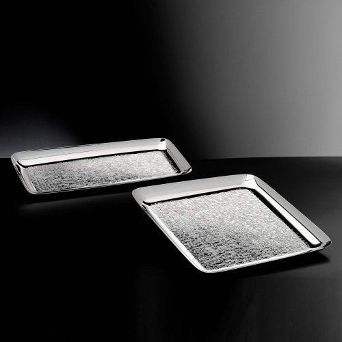 Tango Square Plate - Sculpted from silver plated alloy, the Tango tray can be used to serve cocktails and canapés to guests or used as a decorative piece. Boasting a hand-hammered design that gives a nod to ancient design techniques, the tray is raised at the sides to create a protective ledge.