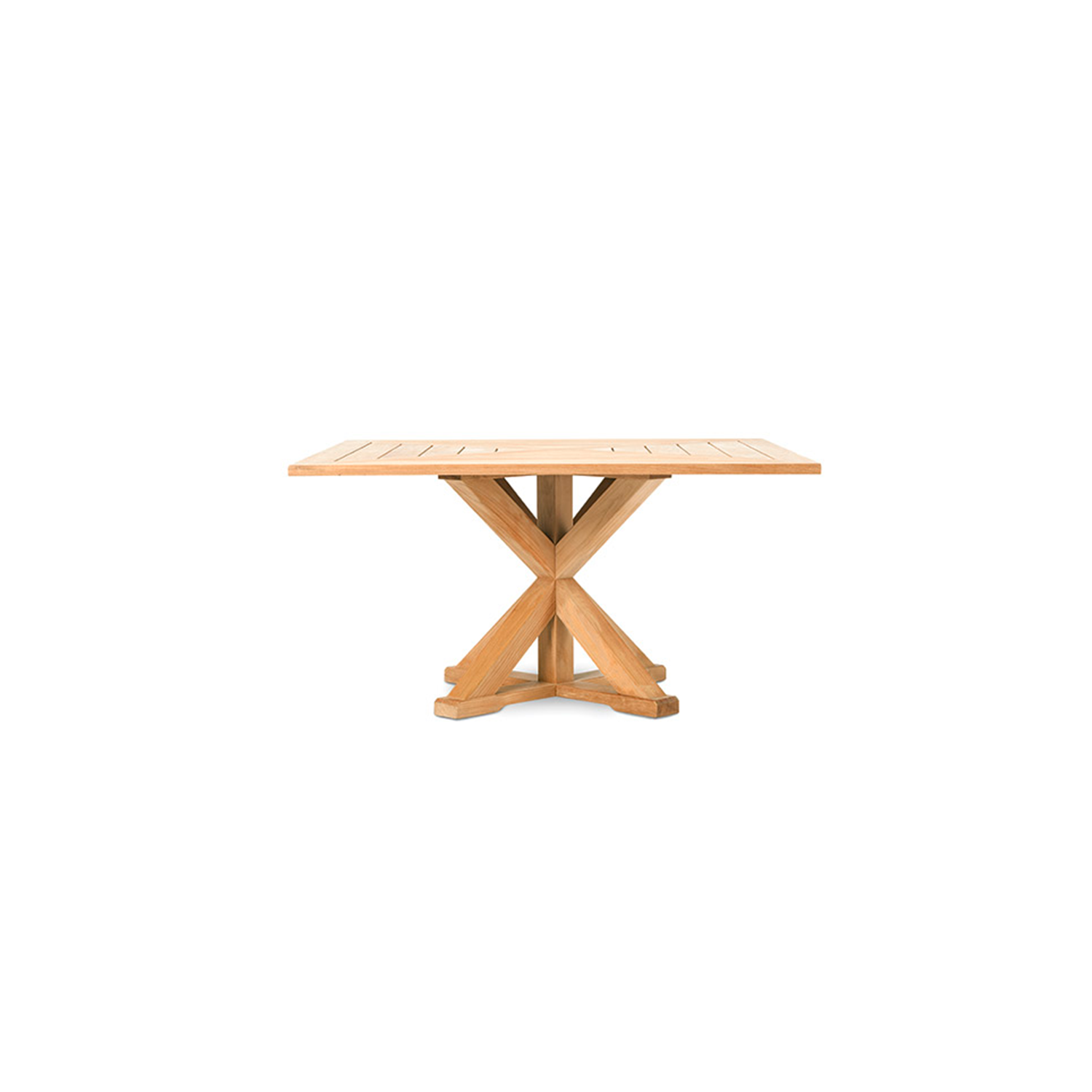 Cronos Square Dining Table - Made of natural or pickled teak, the Cronos tables collection recalls the artisan tradition of wood. The base, which supports the tops, creates geometries and symmetries with a classic contemporary style.  Rain cover is available at extra cost. Please enquire for more information. | Matter of Stuff