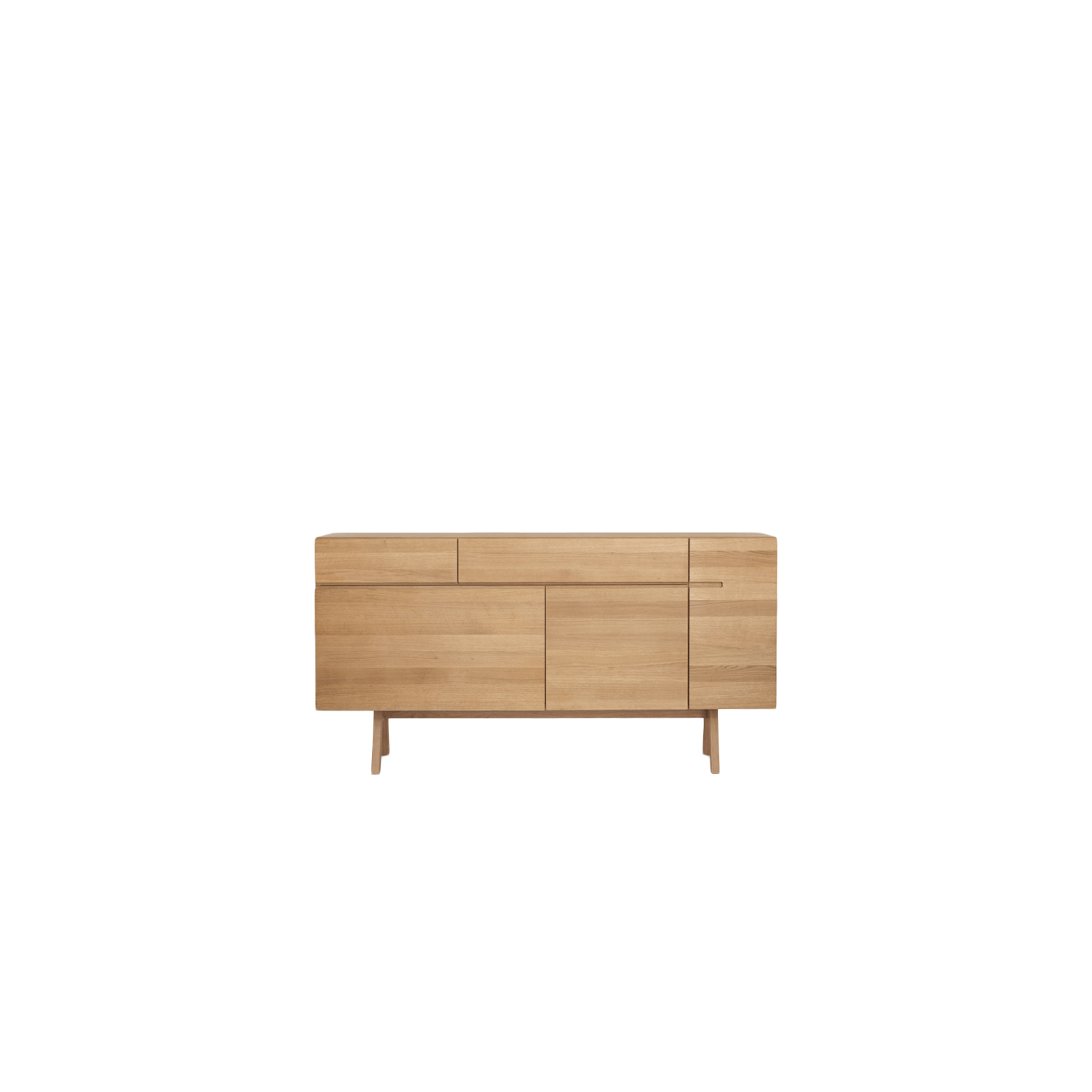 Side Atelier Sideboard - The sideboard family is based on the 'Modulor' proportions system developed by Le Corbusier. The proportion is a deliberate attempt to replace the rigidity of symmetry with an asymmetrical arrangement that feels correct.  The extent to which details in furniture can change is proven by the new under-frame version Atelier for our sideboards. The 25 cm trestle-like construction was developed for the LOW, PODEST and SIDE. The new legs give the concept a contemporary, crafty, appealing look. And it is also a higher alternative to the previous versions.  The Side Atelier sideboard is available in white oiled ash, oiled oak, oiled knotty oak, colour stained oak, oiled American cherry, oiled American walnut and oiled European walnut.   The drawer is comb jointed and has fully extendable runners, and solid hornbeam is used for the interior parts. Mirror-inverted is available at an additional charge and also the flap is available instead of the drawer upon request.  For colour stained oak options, please refer to the catalogue.   Matter of Stuff