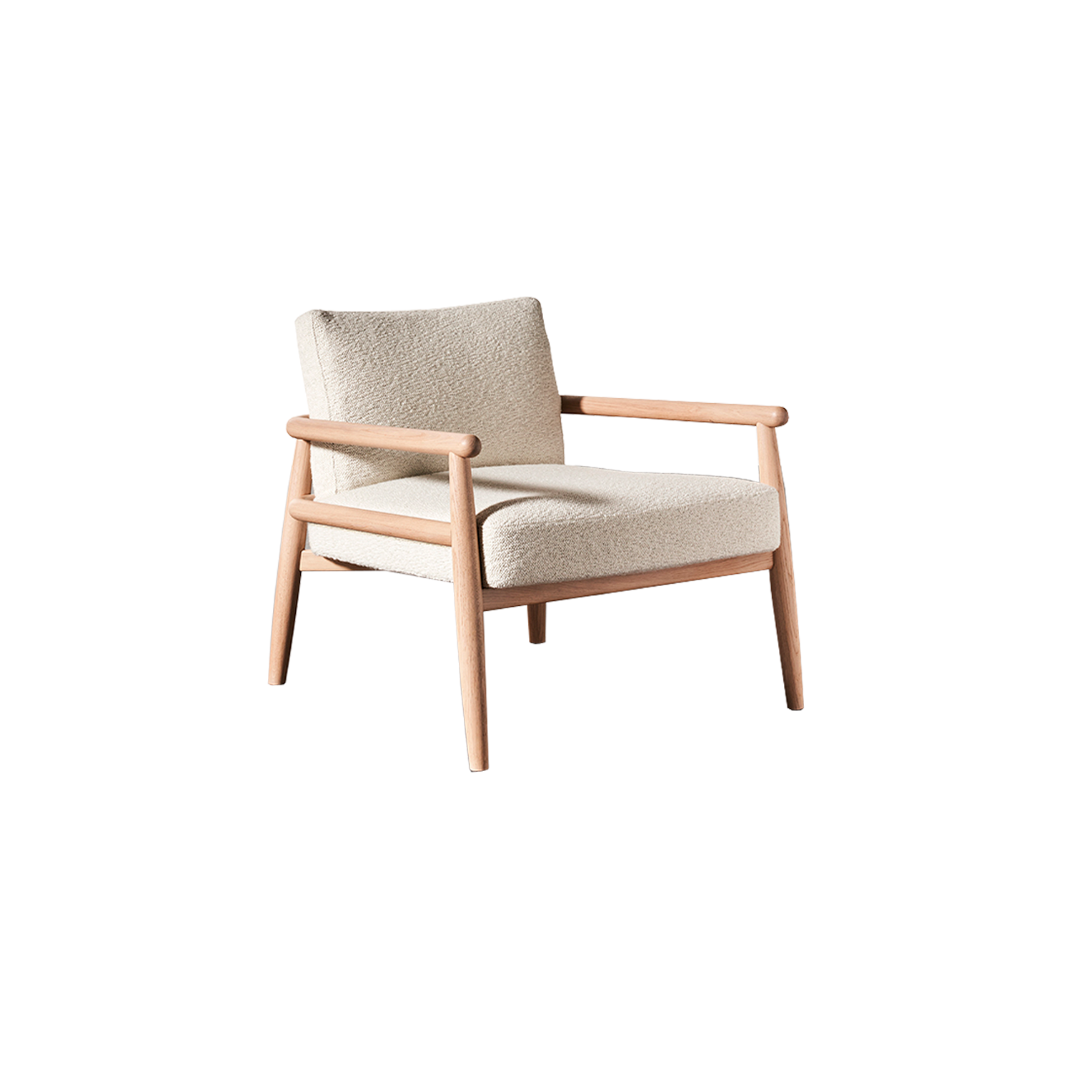 """Teresa Lounge Armchair - Two souls enclosed in the same body: Teresa is an armchair marked by essential lines that take shape and structure thanks to the warmth and solidity of oak wood, skillfully crafted. Both comfort and aesthetics differ in the available versions, the """"soft"""" one, more welcoming, with padded back and seat covered with the textiles and leathers in collection, and the """"kuoio"""" one. The latter takes on a more gritty and decided look thanks to a saddle-leather body that defines back, armrests and seat: the particular saddle leather shape bound up to the oak frame draws a suspended seat that emphasizes its rigor. A storage bag is available as an accessory, to be placed left or right, or even on both sides at your choice. This is how this collection recalls different suggestions depending on the finish and color chosen, creating versatile seats able to dress up and interpret every living context.  The chair is available in different colours. Please enquire for more details 