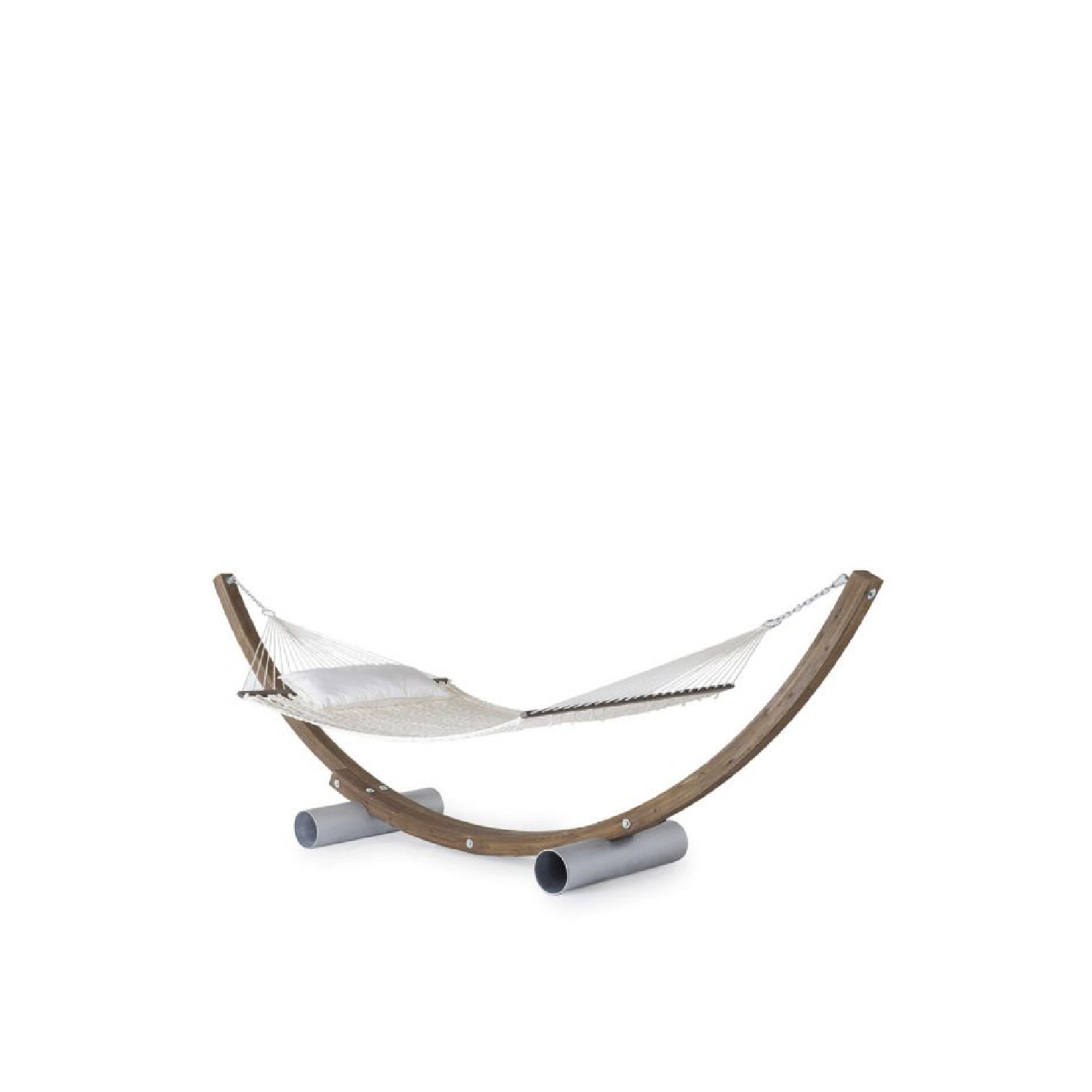"""Amanda Hammock With Natural Galvanized Steel Base - This timeless icon of Unopiù style was chosen by Paolo Sorrentino for his masterpiece """"The Great Beauty"""". Its unmistakable design was based on an idea as simple as it was clever: assemble curved lamellar wood poles with a handmade cord net.  Timeless icon of Unopiù style, the classic version of the hammock has been improved aesthetically with steel hardware to improve its performance. A new alternative version has also been introduced with a more modern design and a base in sandblasted galvanized steel.     