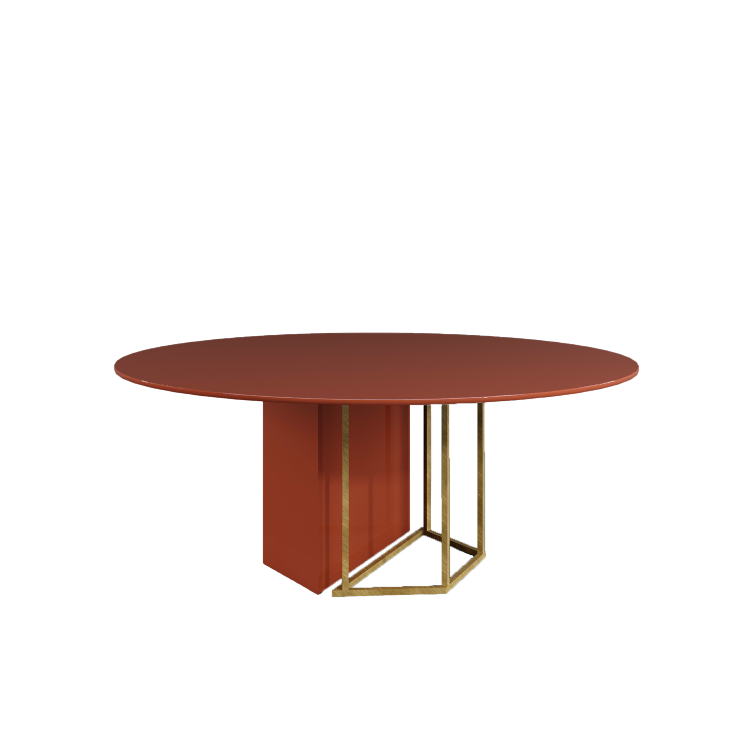 Plinto Round Dining Table - Dining tables with metal base with plinth. Tops in different models and dimensions. Finishes for metal base - black varnishes - bronzed brass Finishes for plinth - wood veneer - matt or glossy lacquer - marble Finishes for tops - wood veneer - matt or glossy lacquer - marble | Matter of Stuff