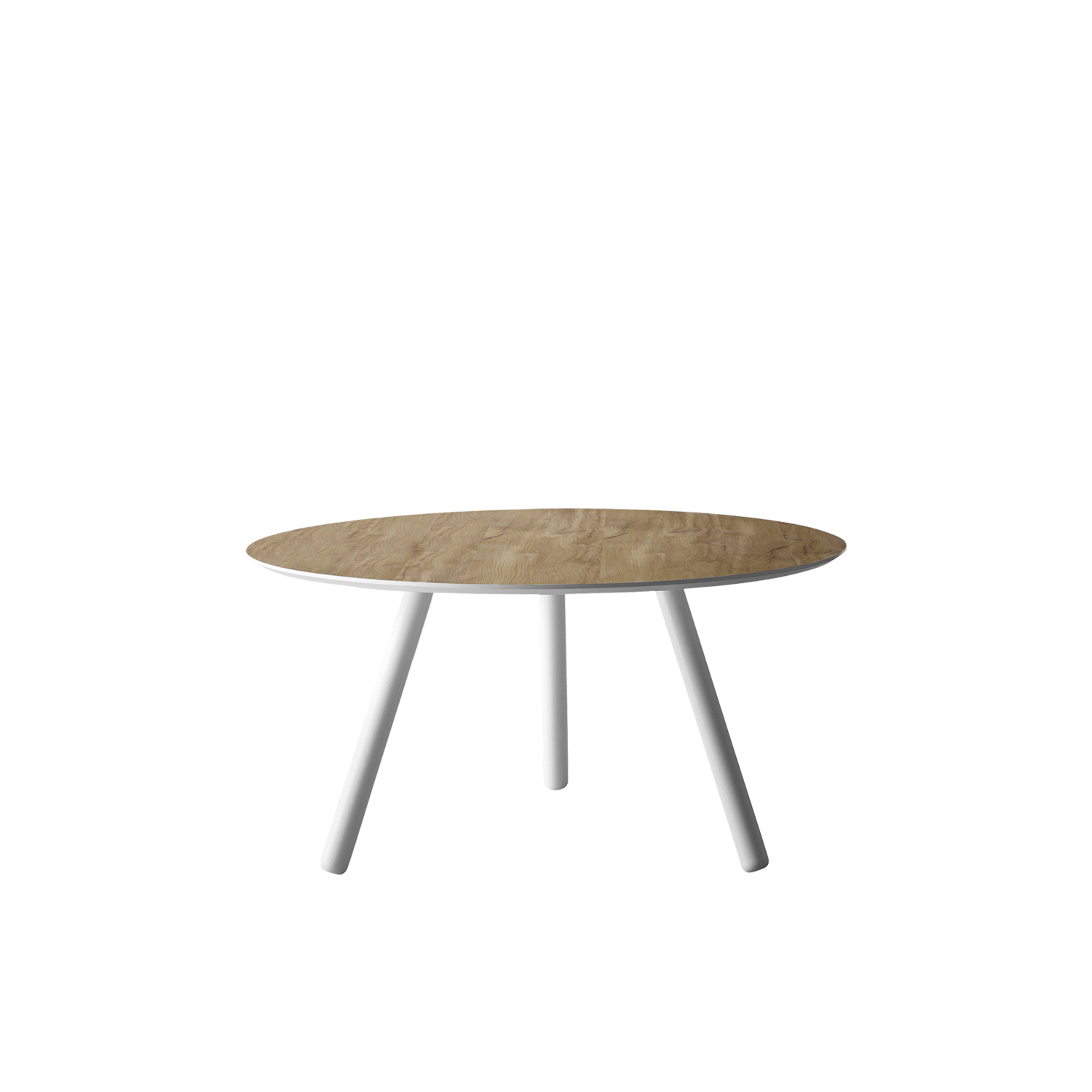 Pixie Round Wooden Table - Pixie is available with oval, round, or rectangular top lacquered white, black or inflamed oak, black ash, vintage oak, heat-treated oak and Canaletto walnut veneer. The legs are lacquered in the same finish of the top or realised in natural ash, grey aniline or black aniline.