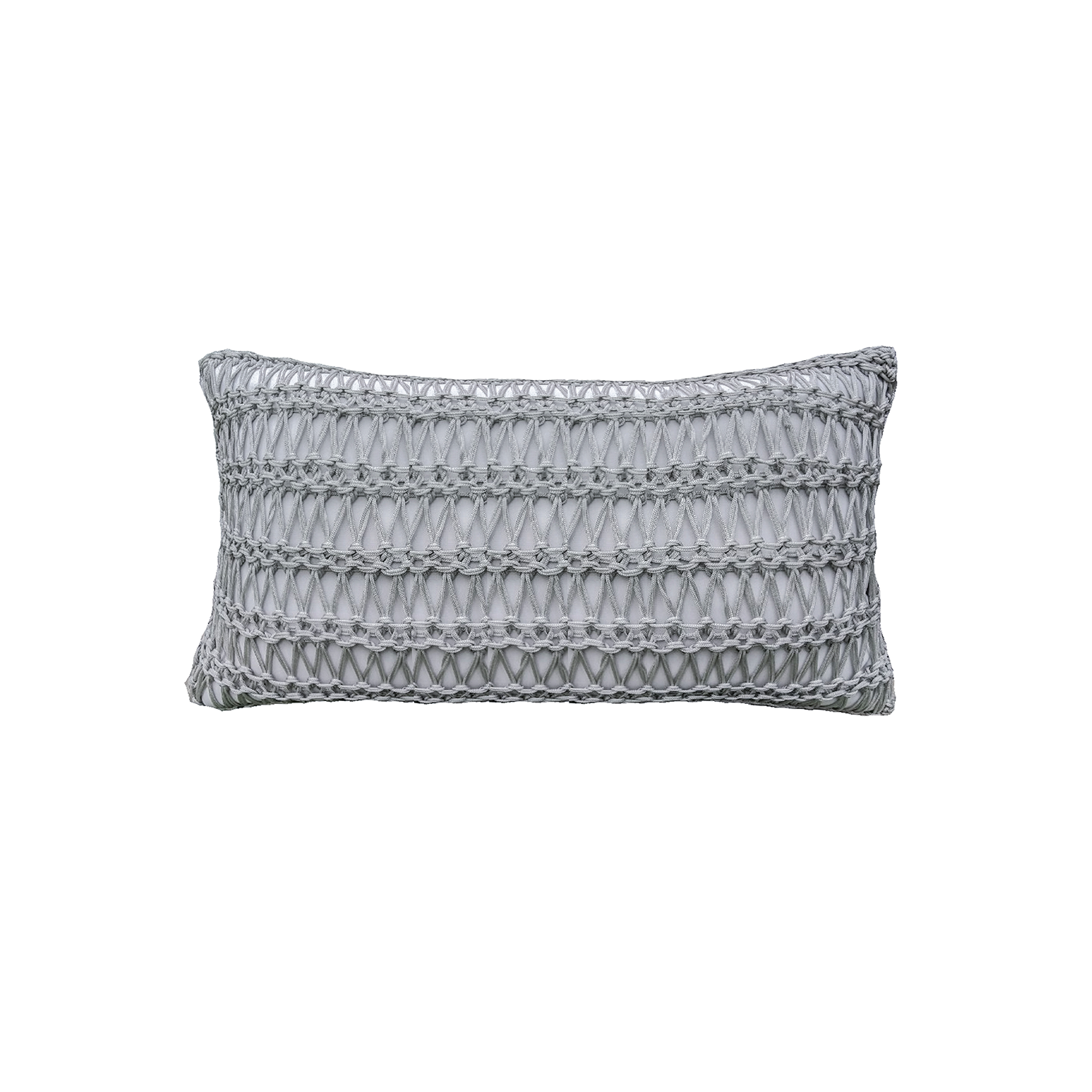 Veleiro Neo Cushion Large - The Veleiro Neo Cushion is carefully knitted within a trained community of women that found in their craft a way to provide for their families. The outdoor collection is made with synthetic fibres, resistant to weather exposure. The use of neoprene brings comfort and technology to the cushions.  The front panel is in neoprene combined with hand woven nautical cord, made in Brazil.  The inner cushion is in Hollow Fibre, made in the UK.  Please enquire for more information and see colour chart for reference.  | Matter of Stuff