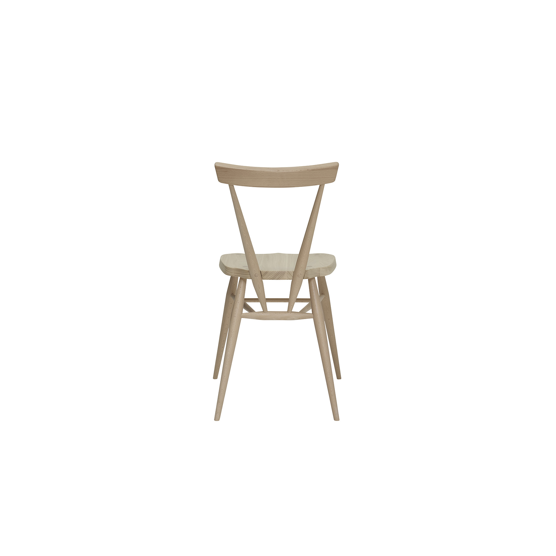 Originals Stacking Chair - <p>The Ercol Originals are pieces of timeless and classic design that never date or show their age. It is furniture that is as relevant and as functional now as it was when it was created in the 1950s and 1960s. This furniture was designed by ercol's founder, Lucian Ercolani, who drew for his inspiration on the time proven local design and craft in the Chiltern Hills around where he lived and built his first factory in 1920 in High Wycombe. Using the strength of beech and the beauty of elm he carried this definition on into a huge variety of dining, kitchen, and school chairs and then extended the idiom into the low easy chair range epitomised by the 206 armchair and the studio couch. The beauty of the colour and the grain of the elm took Lucian on to use elm for the tables and cabinets of the Originals and the following Windsor range. The outward facing, tapered legs on these chairs mean that they stack vertically when they are not in use, combining versatility and style. The curved horizontal seat back not only looks good but also provides a supportive sit, combined with the moulded sturdy ash seat. A feature of this dining chair is the classic Windsor wedge joint, where the leg of the chair goes right through the seat; a wedge is then inserted into a cut in the leg, forming a remarkably strong joint.  Sanded off flush with the seat, the joint then provides a beautiful design element. First launched in 1957, the stacking chair is as fresh today as it was then. The stacking chair will be finished in your choice of a range of lacquer finishes or in a choice of our painted colour finishes, which protects the timber as well as fitting in with your style and decor. </p>