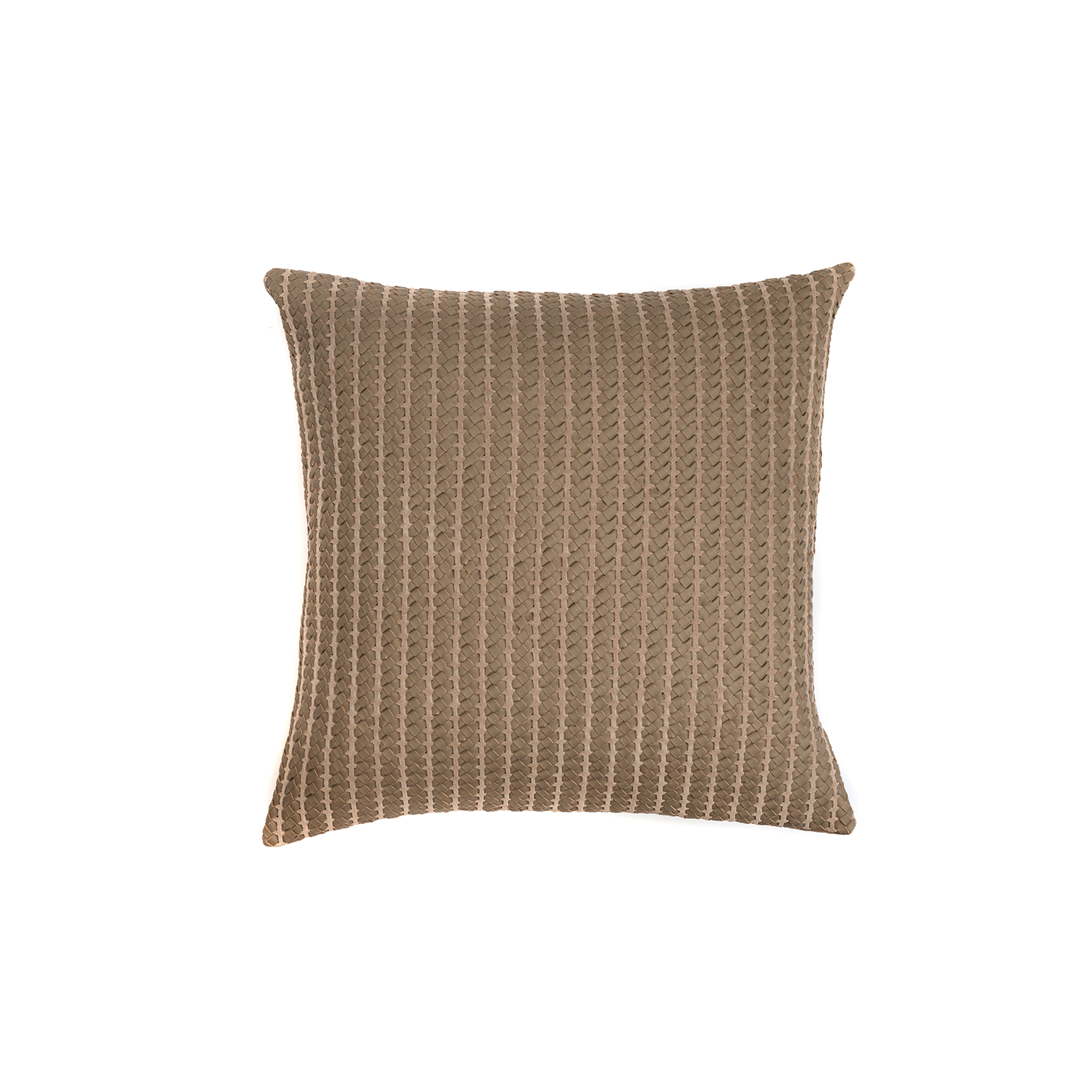 Rib Woven Leather Cushion Square - The Rib Woven Leather Cushion is designed to complement an ambient with a natural and sophisticated feeling. This cushion style is available in pleated leather or pleated suede leather. Elisa Atheniense woven handmade leather cushions are specially manufactured in Brazil using an exclusive treated leather that brings the soft feel touch to every single piece.   The front panel is handwoven in leather and the back panel is 100% Pes, made in Brazil.  The inner cushion is available in Hollow Fibre and European Duck Feathers, made in the UK.  Please enquire for more information and see colour chart for reference.   | Matter of Stuff