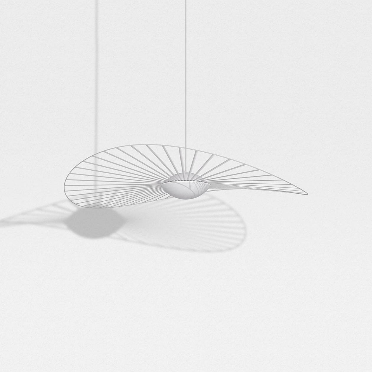 Vertigo Nova Pendant Light - Petite Friture and Constance Guisset, an inseparable duo with lofty ambitions, have started a new chapter of the Vertigo story with Vertigo Nova: a highly technical piece of sophisticated design.  The collection includes items, from table and floor lamps to suspension and wall lights, all available in either black or white. The vast veil of graphic lines mounted atop a sphere of handblown glass uses built-in LED technology to emit a soft light.  Vertigo Nova quivers as the geometric curve of the fiberglass hoop. Installed by hand by qualified French artisans and held delicately but firmly in place by taught ribbons, reacts to the lightest of breezes.  Vertigo Nova is the epitome of striking a balance between technology and elegance. | Matter of Stuff