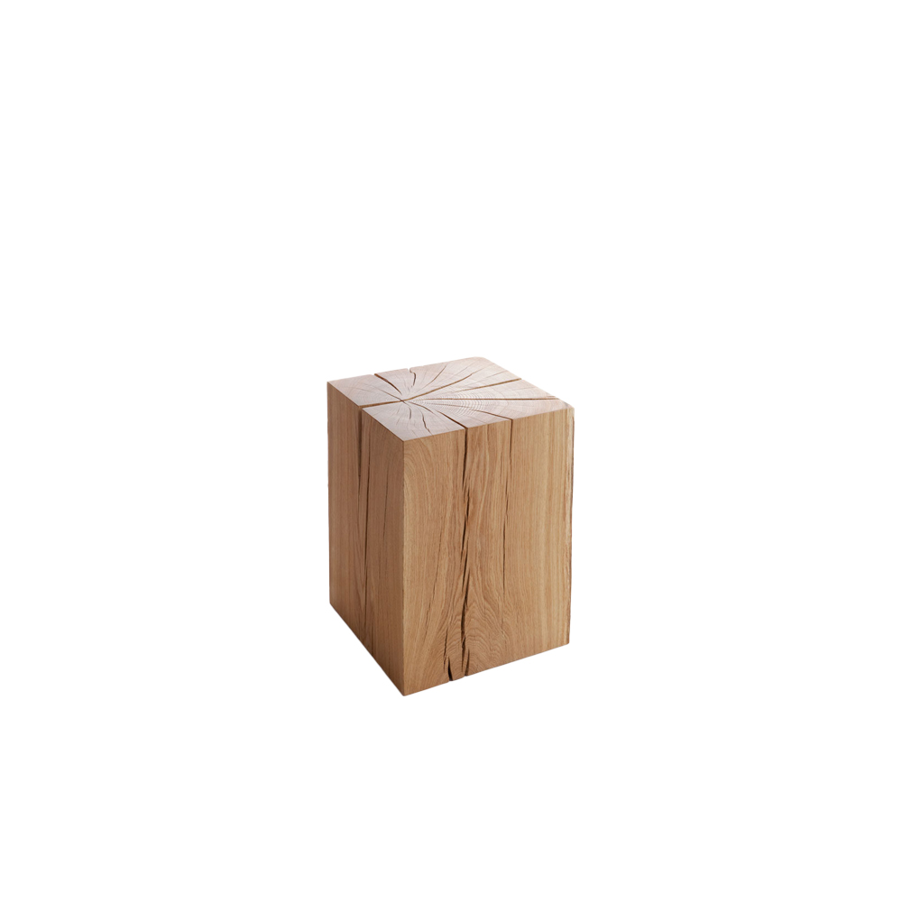 Biennale Stool - The Biennale stool was made for the Architectural Biennale of Venice, as something that can be found in many Finnish cottages or homes. Naturally, the Biennale stool is bigger and heavier, and the finishing is made much more carefully than the chunks usually found at private homes. This stool is available in oiled oak.   The Biennale stool is manufactured in limited series. For availability, please inquire. | Matter of Stuff