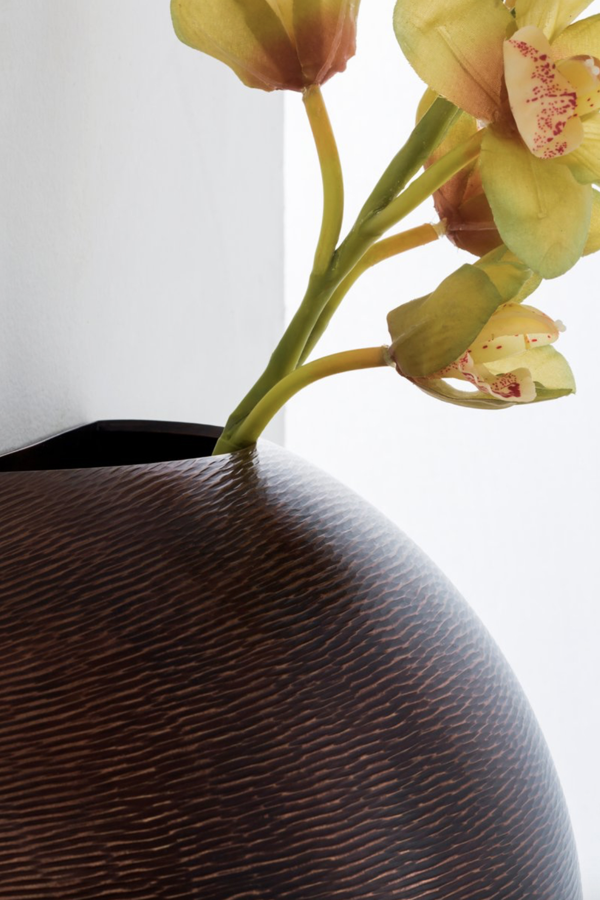 Palla Wall Vase - The Palla wall vase features a wavy texture in burnished copper.