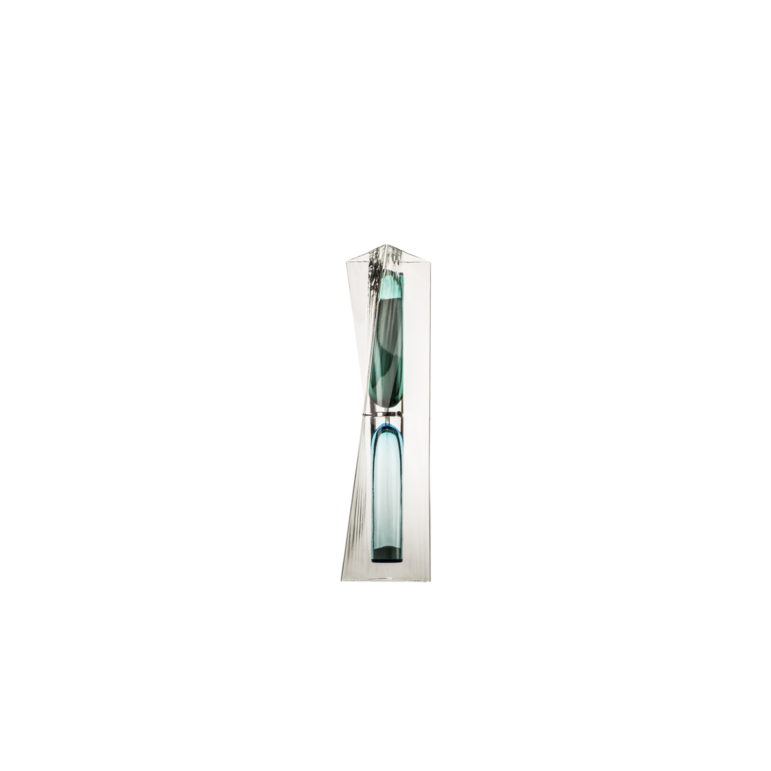 Ando Time Hourglass - This captivating hourglass by artist Tadao Ando is a testament to the elegance of glass. Two, bullet-shaped blown glass bulbs in green and aquamarine are encased in a clear prismatic case, carrying white sand through a narrow tube. It is part of a limited edition of 49 pieces per colour.