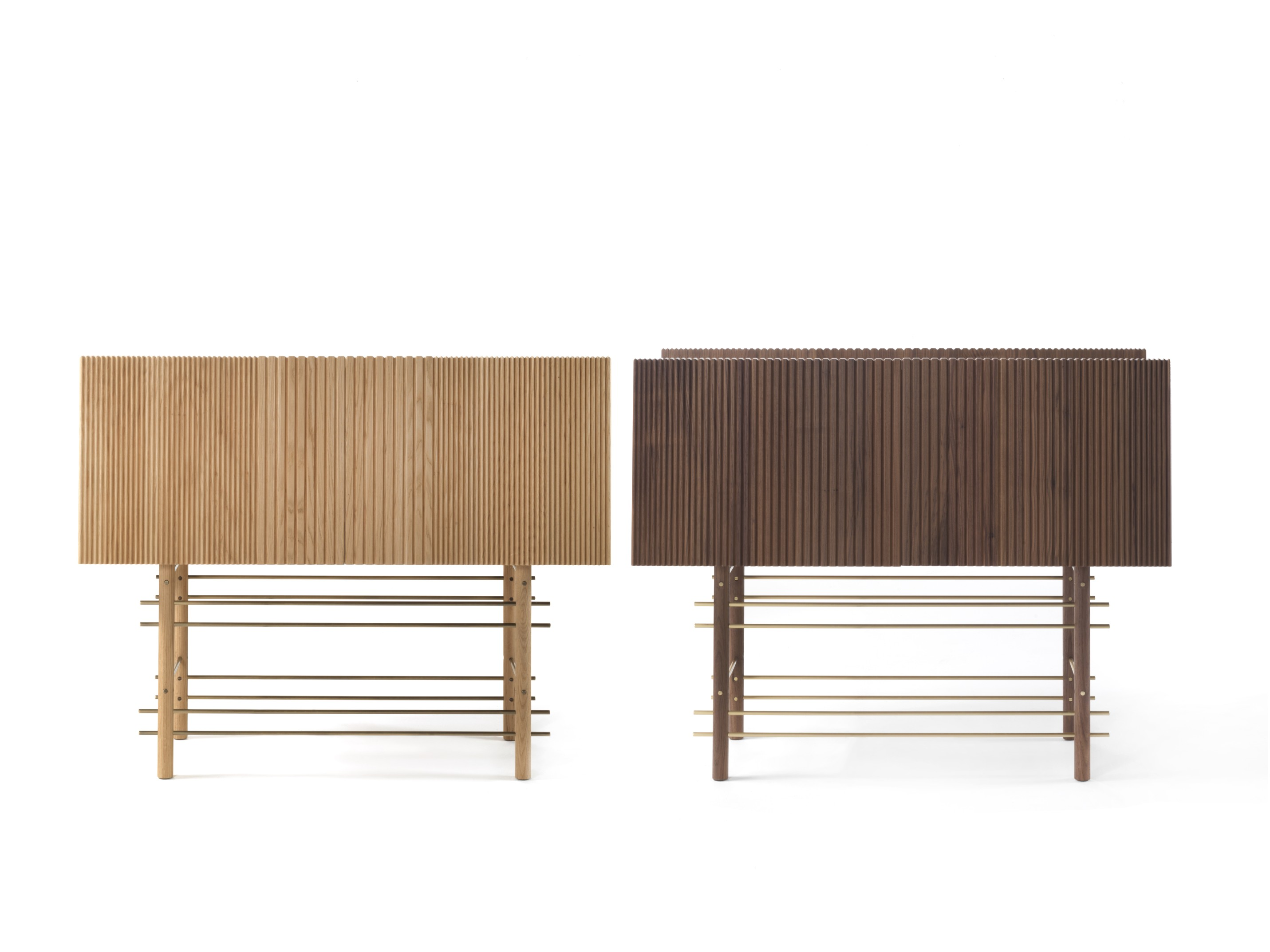 Ella Cabinet - A cabinet characterised by a clear reference to the sartorial reality: the milling machine makes the timber look gradually pleated on the panels which compose its vertical surfaces.