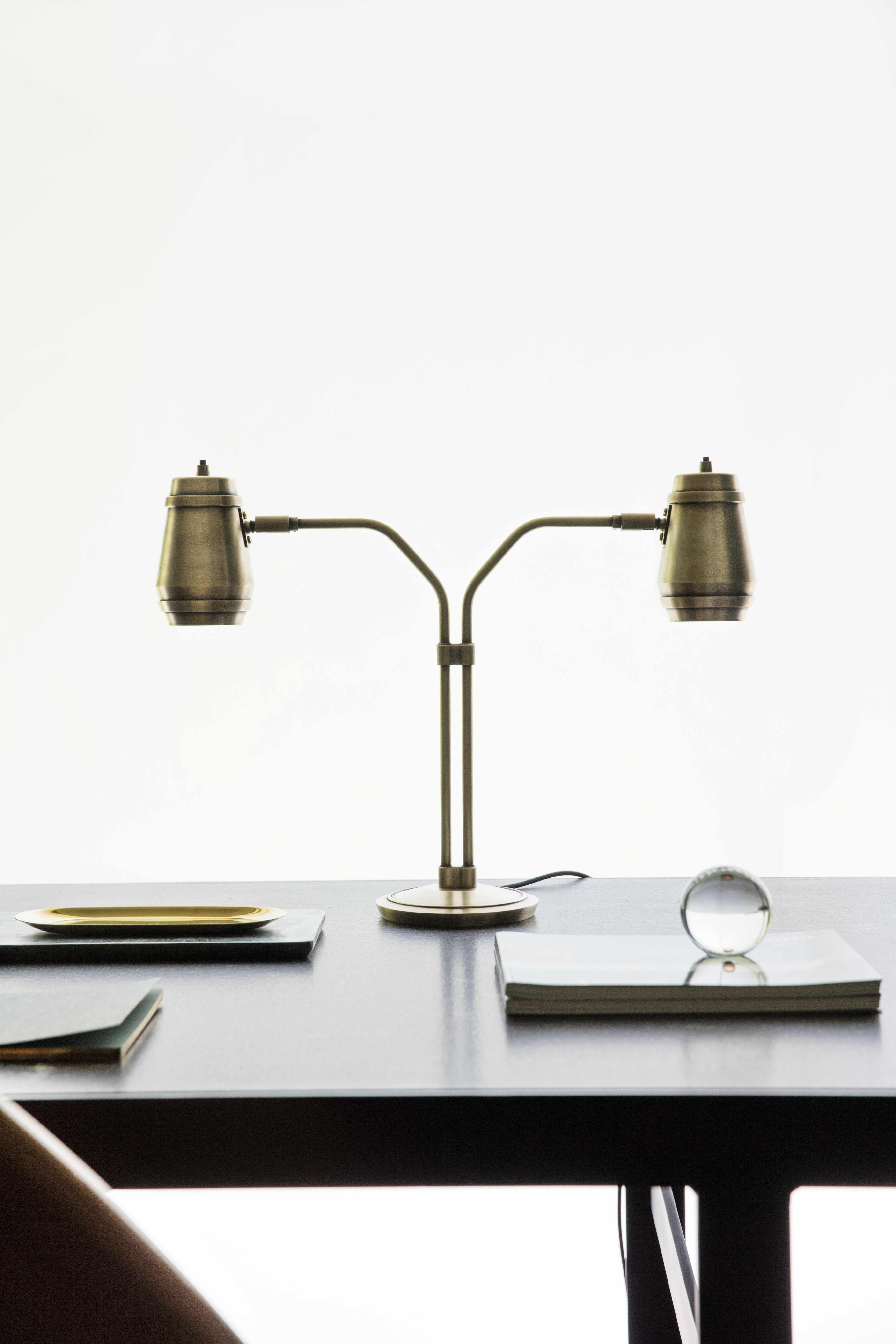 Cask Table Lamp - <p><span>The timeless look of the Cask Table Lamp is enhanced by hand-finished brass. Twin arms and symmetrical cask shades make this industrial-inspired design an eye-catching yet practical task light. </p> <p></span></p>  | Matter of Stuff