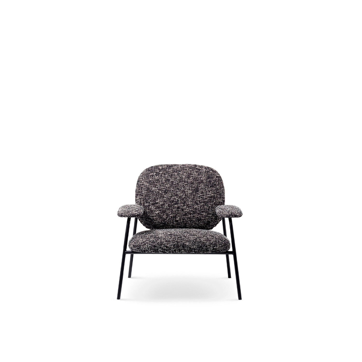 Philo Lounge Armchair  - Philo is a prefix of Greek origins that indicates love, propensity and empathy towards people and things.‎ A metallic thread draws together a welcoming silhouette; it runs, turns, comes up and goes down, hugging and delicately supporting the upholstered surfaces.‎ The agile dimensions give life to a seating system capable of existing in different spaces: home, offices and in places of meeting in general – of welcome and for relationship building.‎ Philanthropic by nature this elegant and simple sofa has a lean yet grounded honest form.‎ The design's character is communicated with an interplay of lines and colours.‎ The metallic thread transforms into sewing thread and continues on to weft and warp creating a singular harmony.‎