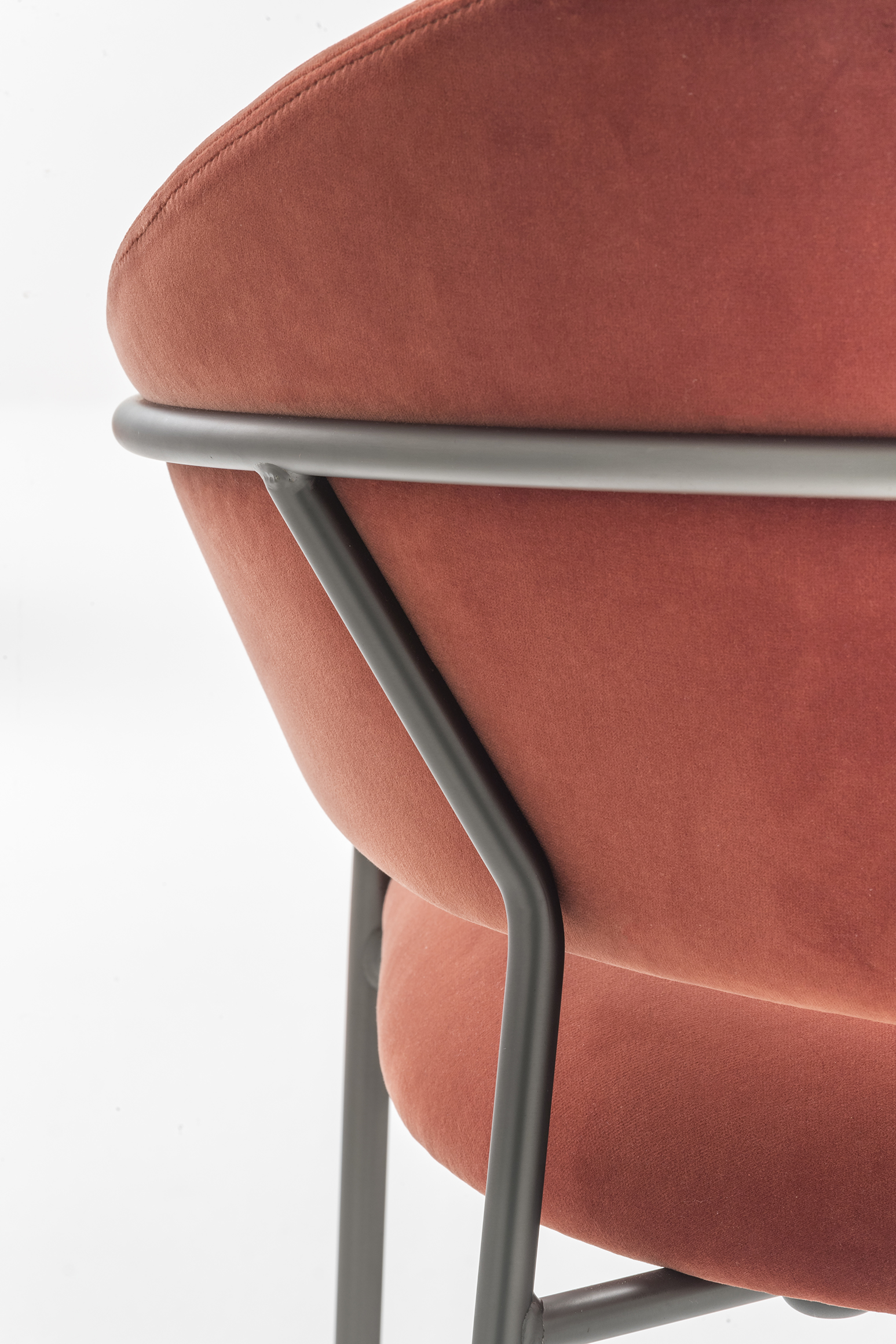 Jazz Armchair - <p>Harmony of shapes, ergonomics and elegance are the characteristics of the Jazz armchair. The seat and the curved backrest are supported by a light steel structure. Personalization is ensured by the combination of the upholstery, in fabric or imitation leather, and different steel finishes.</p>     Matter of Stuff