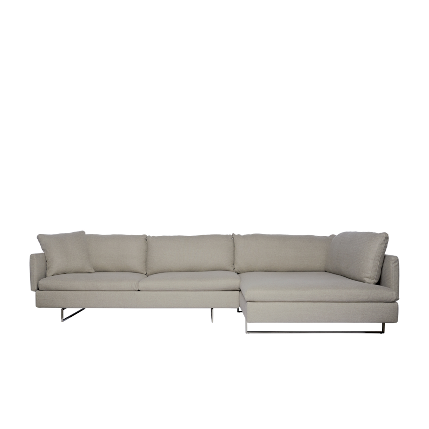Voyage Modular Sofa - This sofa offers clean lines and a unique flexible design that gives a feeling of momentum towards a larger journey. The upholstery options are essential, contemporary and eclectic. The Voyage can be assembled and re-assembled with simple configurations adapting to any living scenario. This seating system reinforces Saba's ethos for interpreting the value of flexibility: from the slender backrests that allow utmost comfort with minimal volume to the multiple configurations they enable. The Voyage can be configured into two sofas or one sofa in vis a vis positioning, or into a chaise lounge formation. It's available in two variations - with methacrylate or chrome finished metal feet.  This item is available in various sizes and combinations. Please enquire for more information and prices.  Materials Structure in wood padded with polyurethane foam covered with velfodera on a polyester fiber coated backing 150gr/sqm. The back panels are in plywood padded with variable-density polyurethane foam and covered with velfodera 100gr/sqm. Feet 10 cm high in transparent methacrylate with rectangular section or in metal with black nickel finishing. The seat cushions are made with variable density polyurethane, covered fine velvet coupled with polyester fiber 280gr/sqm. The back and armrest cushions are in siliconised microfiber unravelled 100% polyester quilted into sections and covered with 100% white cotton fabric. The roll armrest is filled with polyurethane foam and covered with cotton fodera coupled with polyester fiber 380gr/sqm. | Matter of Stuff