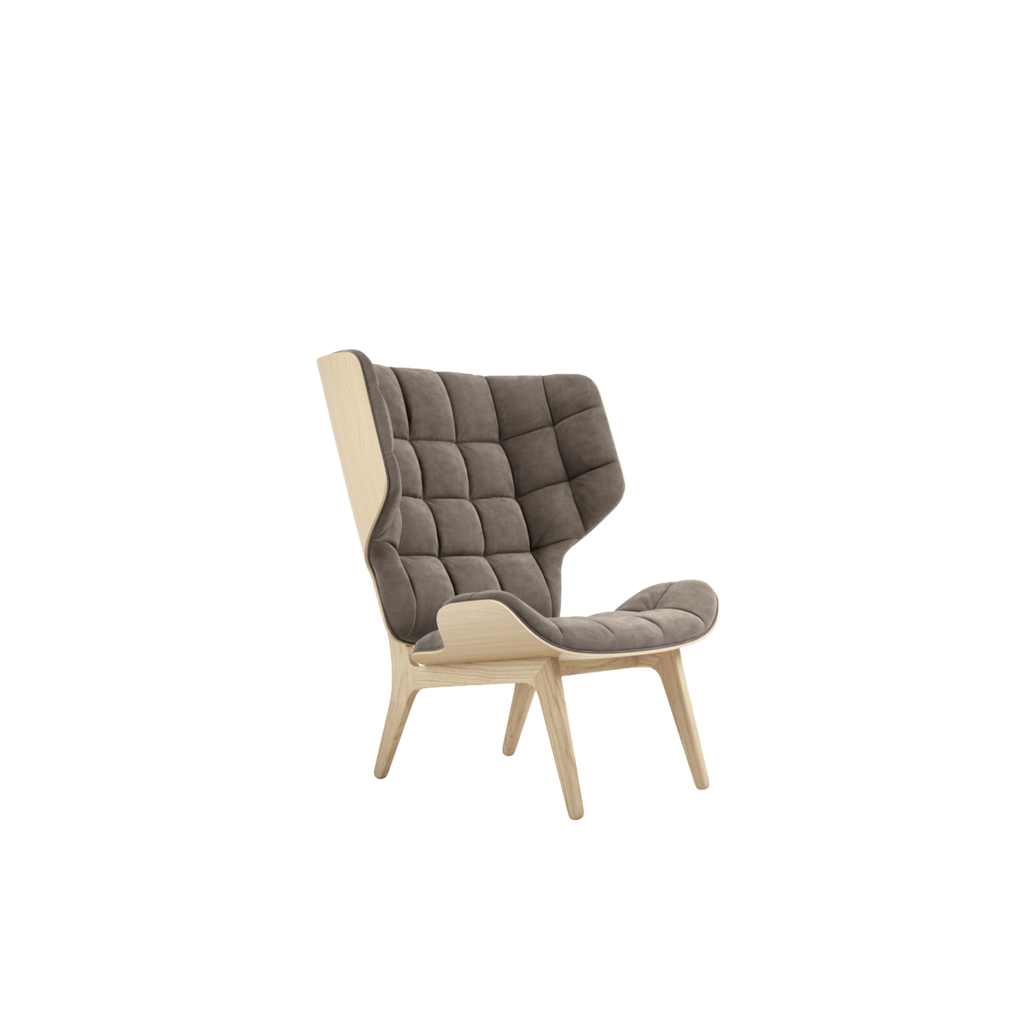"""Mammoth Lounge Chair - The Mammoth chair is designed by the Danish designer Rune Krøjgaard and Norwegian designer Knut Bendik Humlevik, the Mammoth Chair is a welcoming modern wing chair. The wings extend outwards from the back of the seat, creating a pleasant homelike feeling. Rune's passion for shapes and specific manufacturing techniques coupled with Knut's pursuit to create stylish yet functional furniture manifest themselves in the Mammoth Chair. The seat and back are formed from the same compression mold, giving the chair its signature clean minimalistic look. The high back, hugging wings and fluffy upholstery provide superior comfort and sense of privacy, whether relaxing at home or lounging with others.  The Mammoth Chair is hand-crafted, using solid oak wood for its frame and oak veneer for the seat and back. The frame comes in multiple colorways; natural, smoked, dark stained and black, upholstered in enormous variations of fabrics and leathers.  """"For me functionality is a key factor, and can never be ignored, so if I can achieve pure style and functionality in a product, I'm glad."""" - Knut Bendik Humlevik     SHOW COLLECTION  