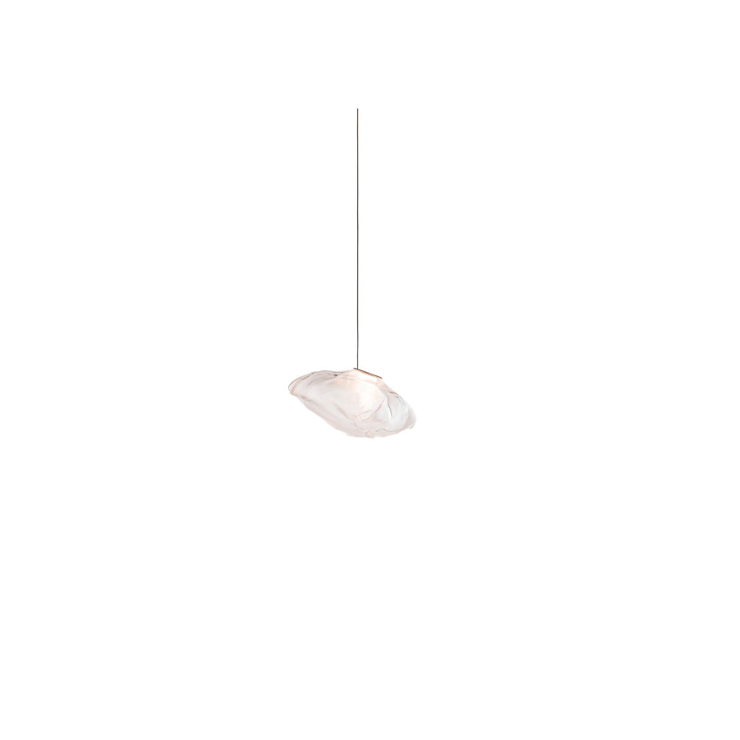 """73.1 Pendant Light - The 73.1 shallow canopy is a single 73 pendant fixture with a shallow brushed nickel canopy designed to fit over a new or existing 4"""" octagonal junction box. The canopy is 116mm (4.5"""") in diameter and 7mm (0.3"""") deep, which creates a subtle profile that minimises the impact in the application surface. The pendant drop lengths on this chandelier are adjustable up to the specified maximum. The 73 is formed by blowing liquid glass into a folded and highly heat-resistant ceramic fabric vessel. The resulting shape has a formal and textural expression intuitively associated with fabric, which becomes permanent and rigid as it cools. Each 73 is completely unique in proportion, size and shape.  
