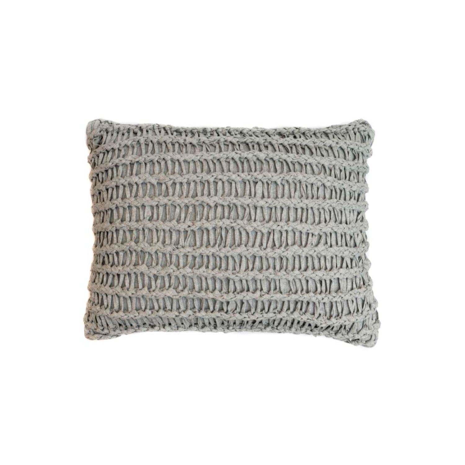 Stockholm Knitted Cotton Cushion Large - The Stockholm Line is carefully knitted within a trained community of women that found in their craft a way to provide for their families, each one of these cushions and throws is unique.  Elisa Atheniense Home soft indoors collection is made with natural cotton fibres, eco-friendly, handwoven or elaborated using traditional hand-loom techniques. The use of organic materials brings softness and comfort to the space. This collection combines their mission for responsible sourcing and manufacturing.  The hand woven cotton, washable cushion cover is made in Brazil and the inner cushion is made in the UK. All cushions come with Hollow Fibre filling. European Duck Feathers are optional upon request at an extra cost. Please enquire for more information and see colour chart for reference.   | Matter of Stuff